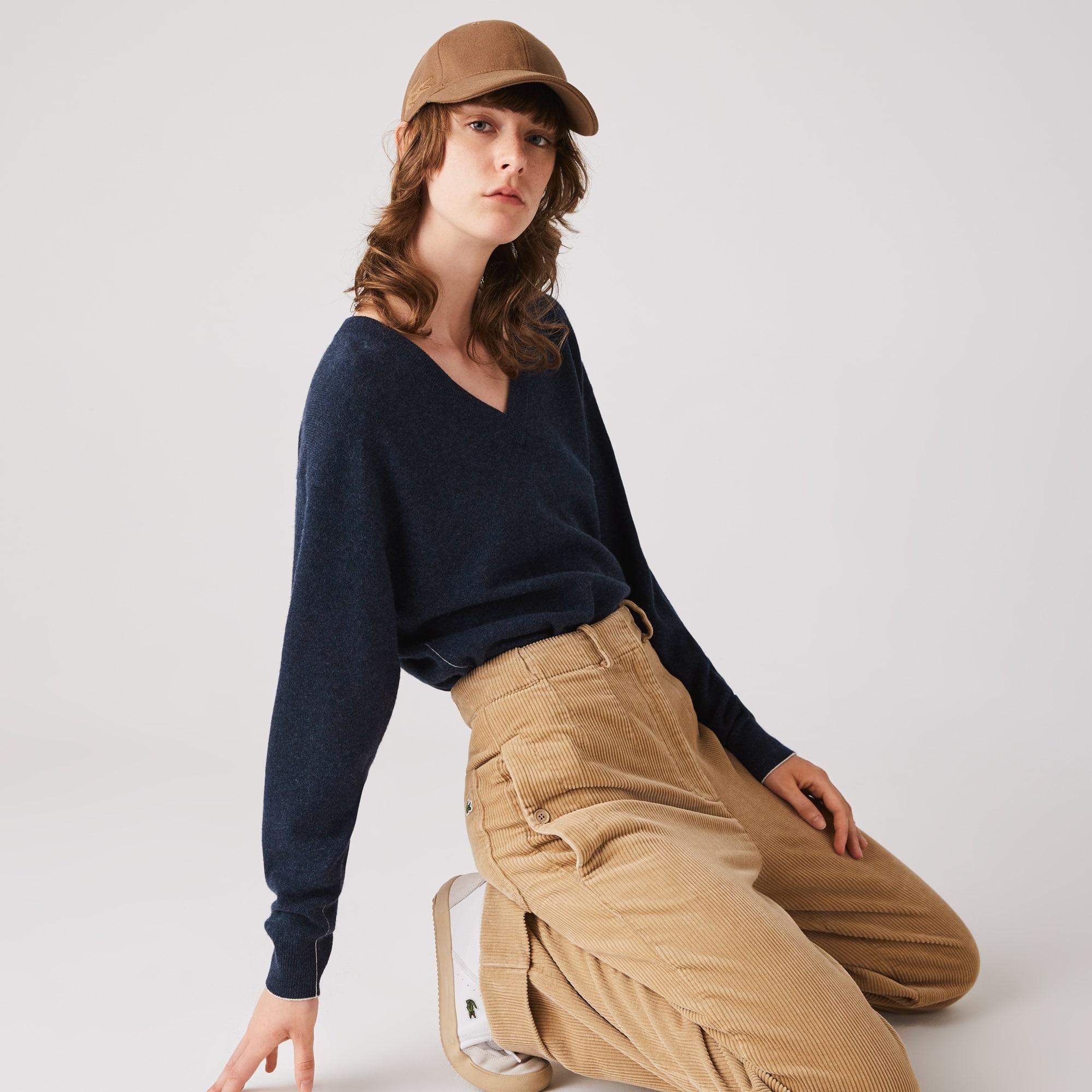 라코스테 우먼 브이넥 울 스웨터 - 2 컬러 Lacoste Womens V-neck Wool Sweater