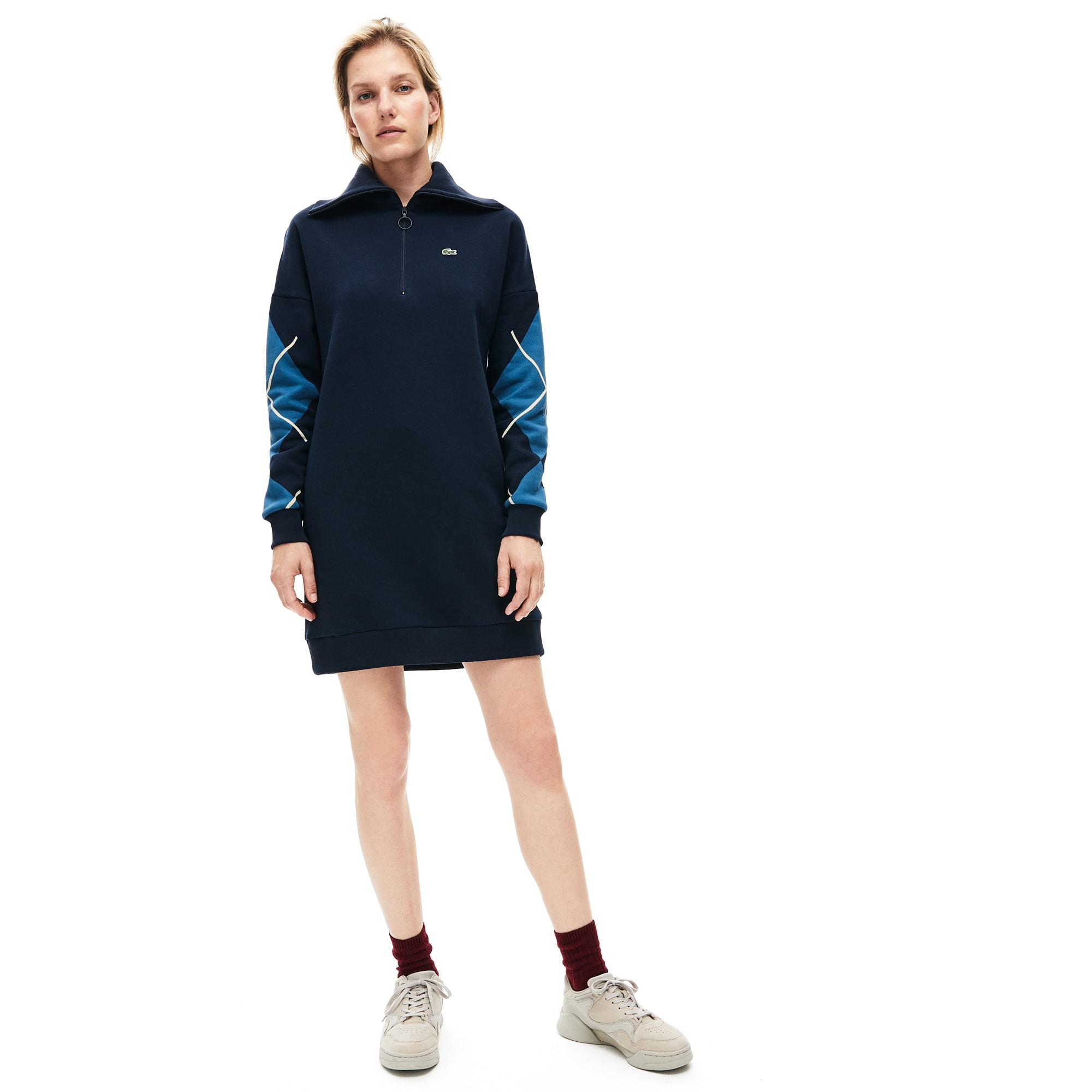 Lacoste Dresses Women's Made In France Jacquard Patterned Fleece Sweatshirt Dress