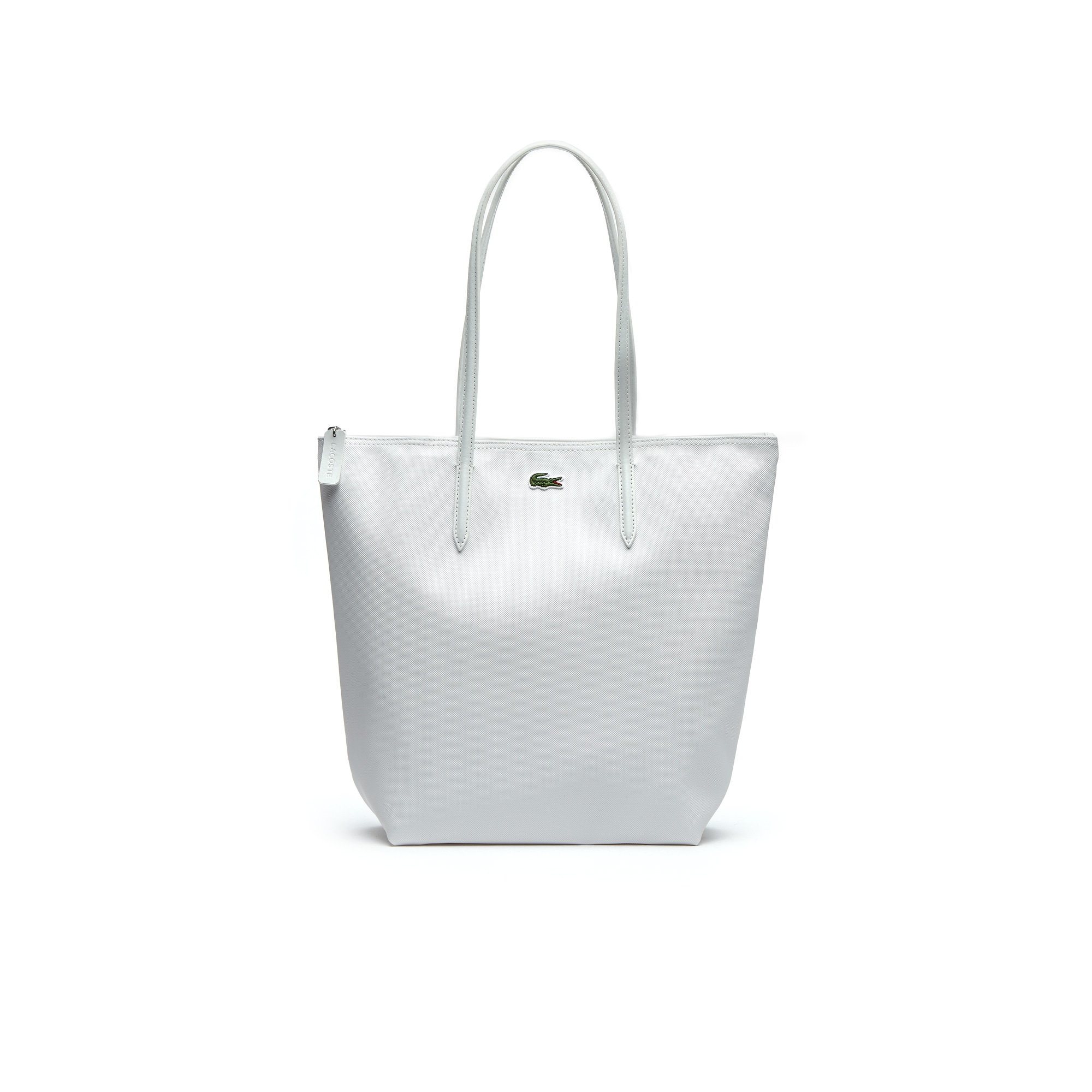 라코스테 Lacoste Womens L.12.12 Concept Vertical Zip Tote Bag,bright white