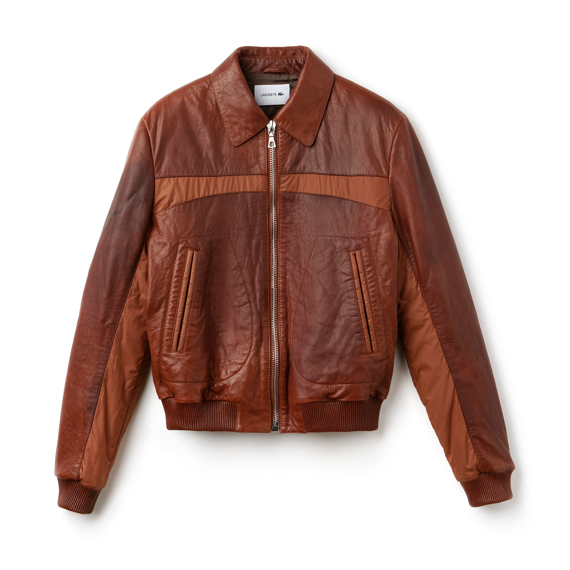 Men's Fashion Show Zippered Panel Leather Jacket