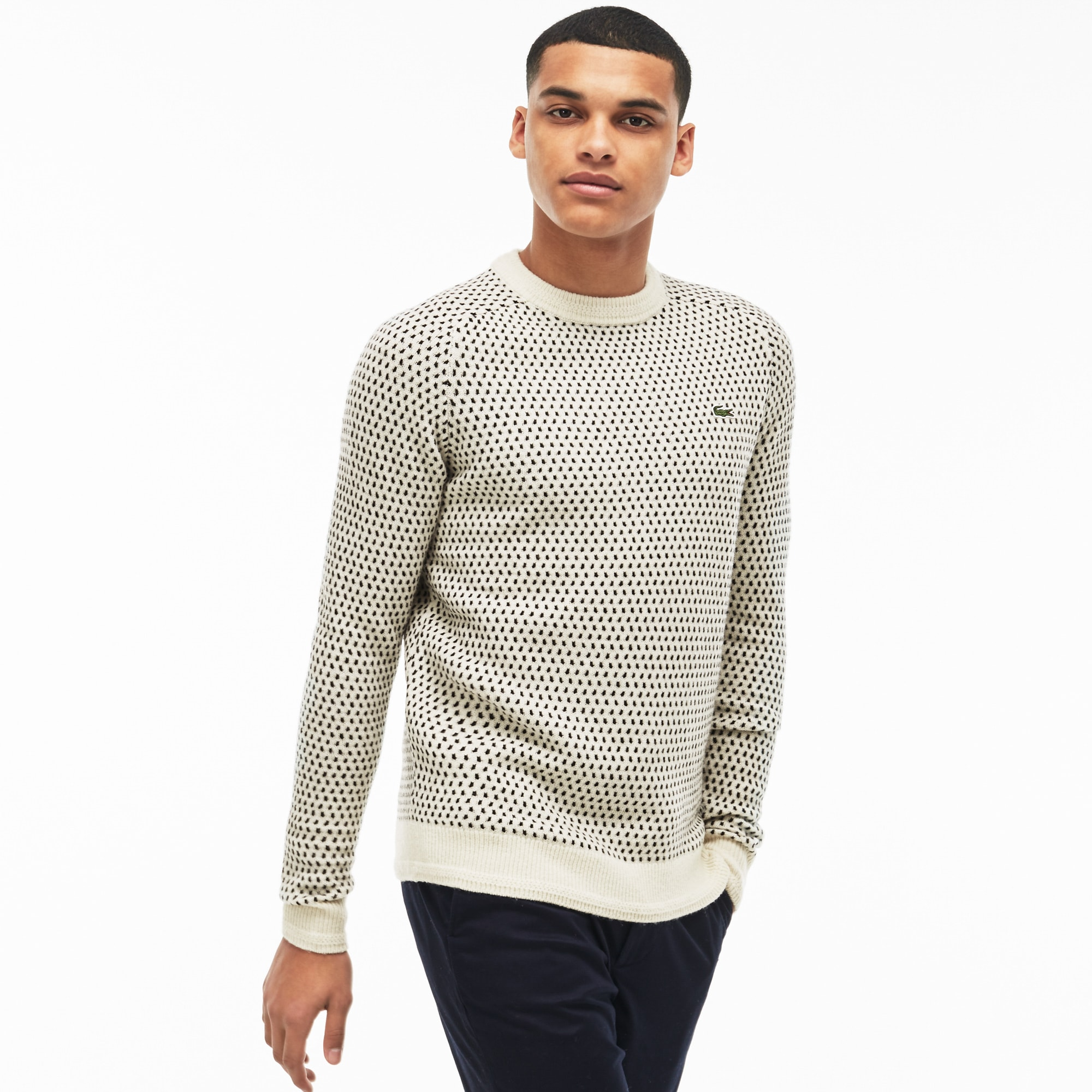 Men's  LIVE Crew Neck Wool Blend Mini Jacquard Sweater