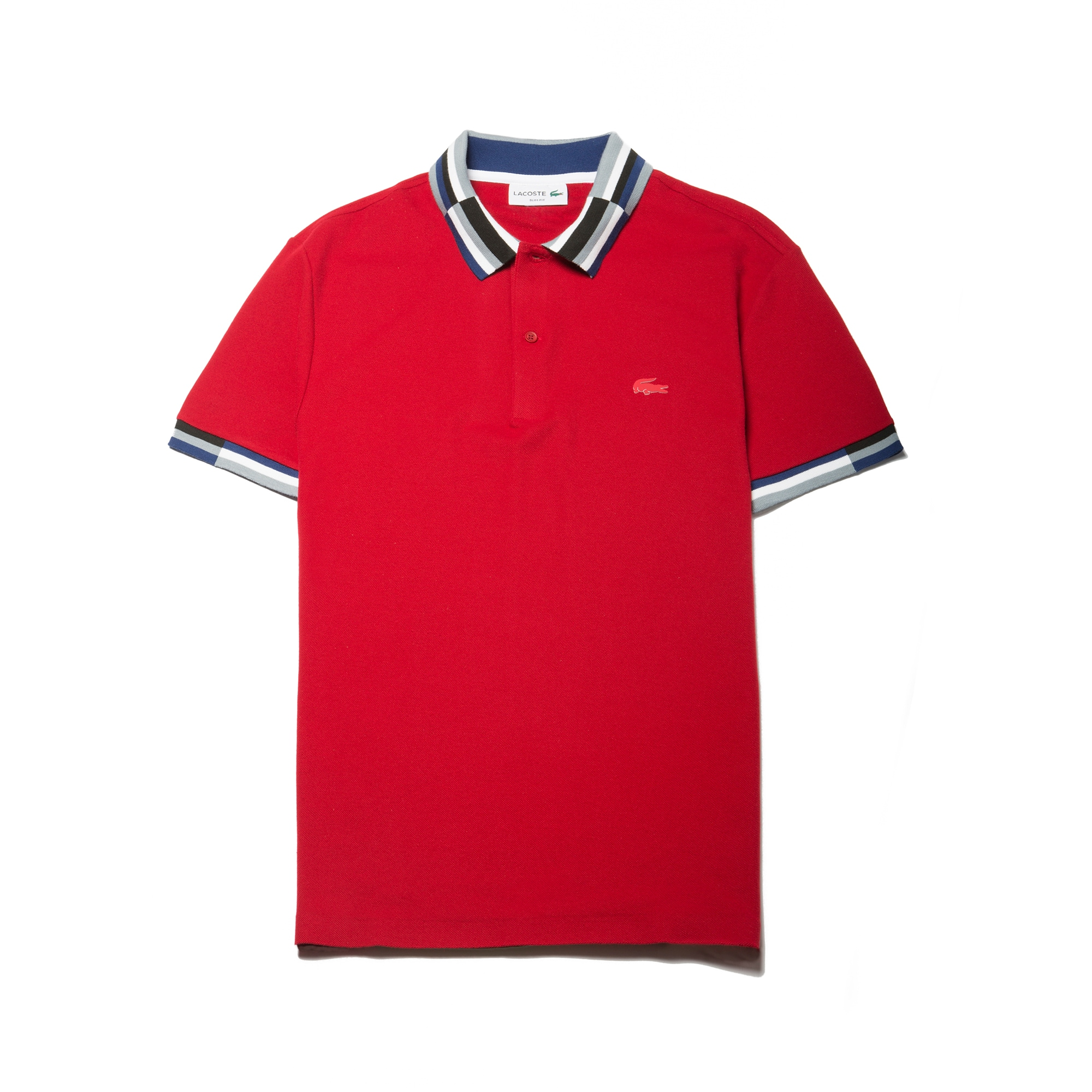Men 39 s slim fit colorblock striped knop piqu polo lacoste for Lacoste stripe pique polo shirt