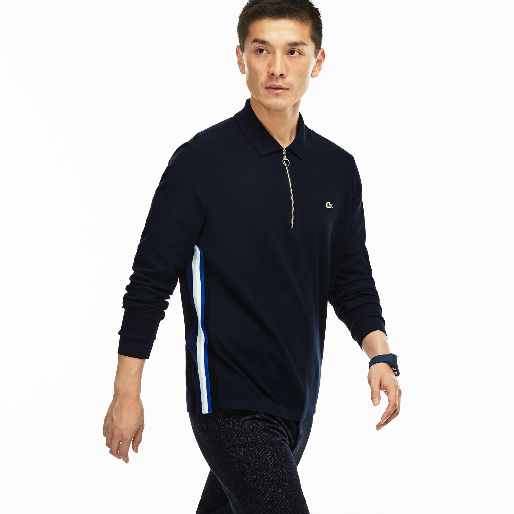 Men's  Regular Fit Zip Neck Jersey Polo