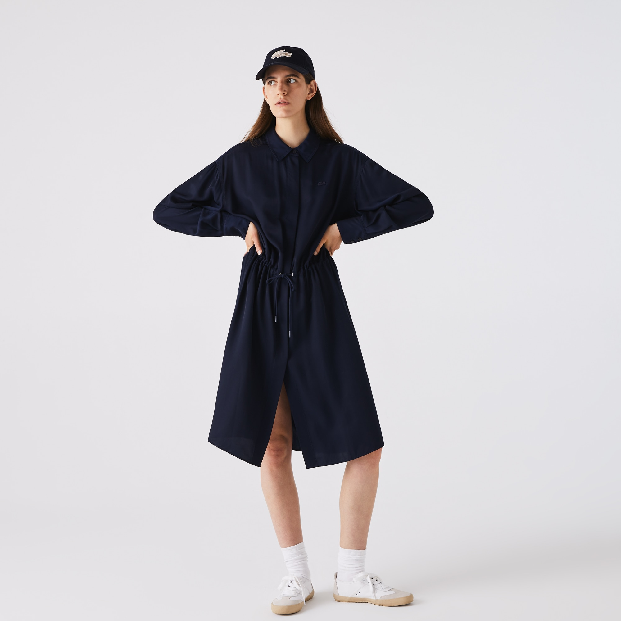 Lacoste Womens Fitted Crepe Shirt Dress