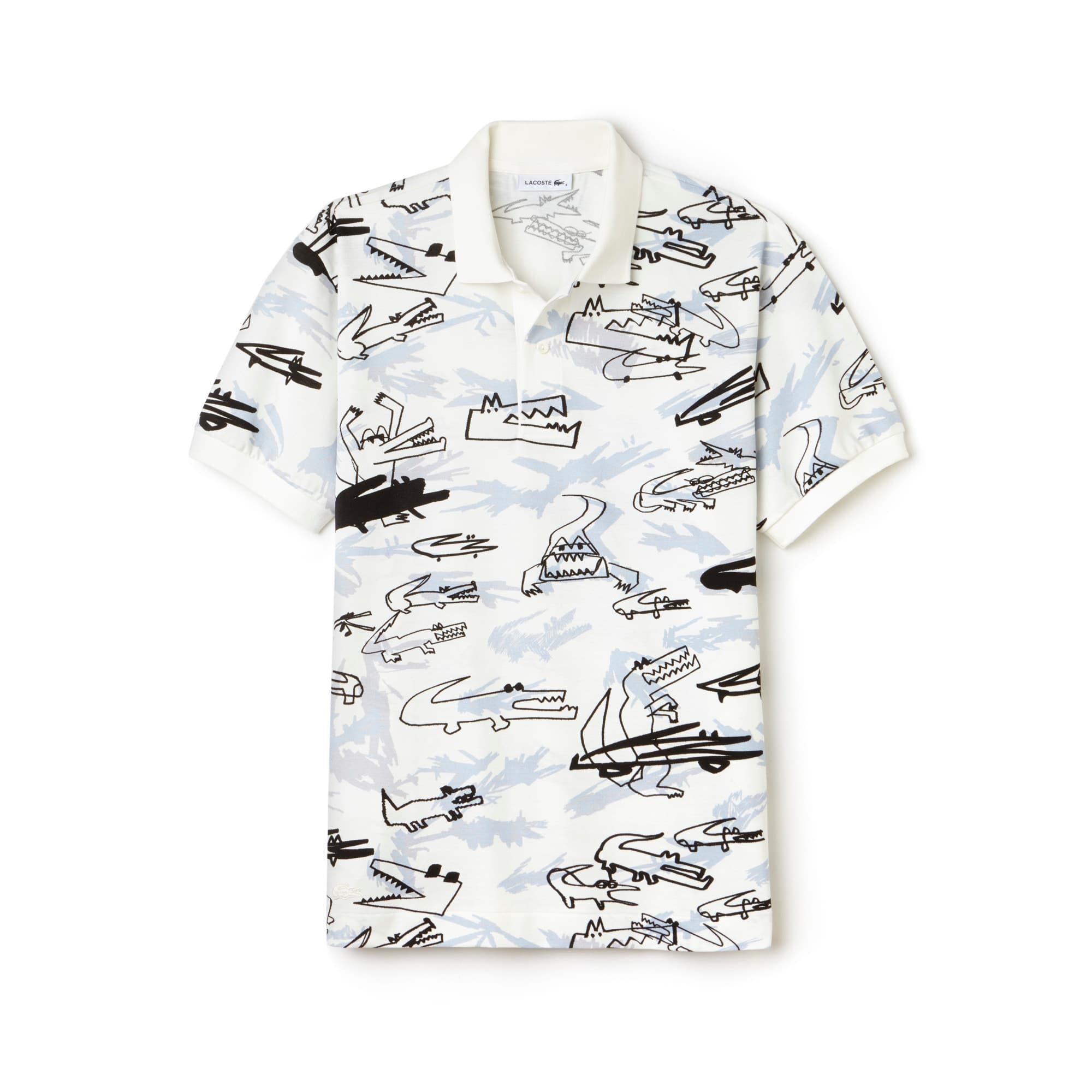 Men's Fashion Show Oversized Croc Print Polo Shirt