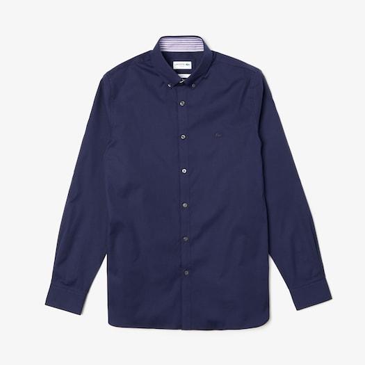 라코스테 Lacoste Mens Slim Fit Stretch Cotton Shirt,Navy Blue - 166