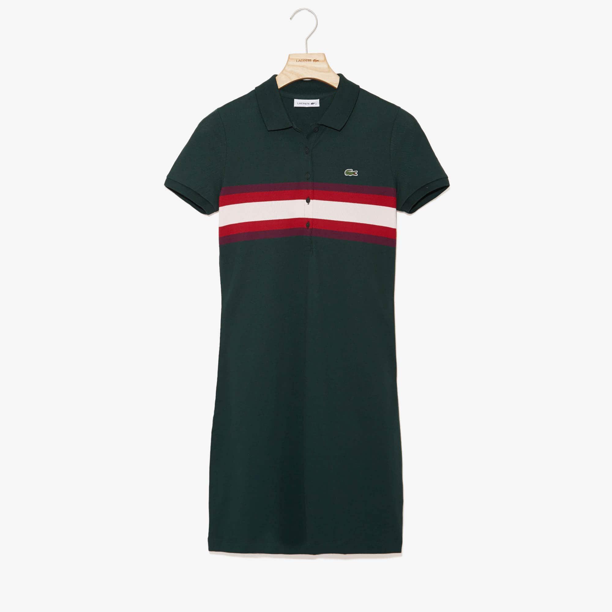 Lacoste Dresses Women's Color Block Stripe Polo Dress