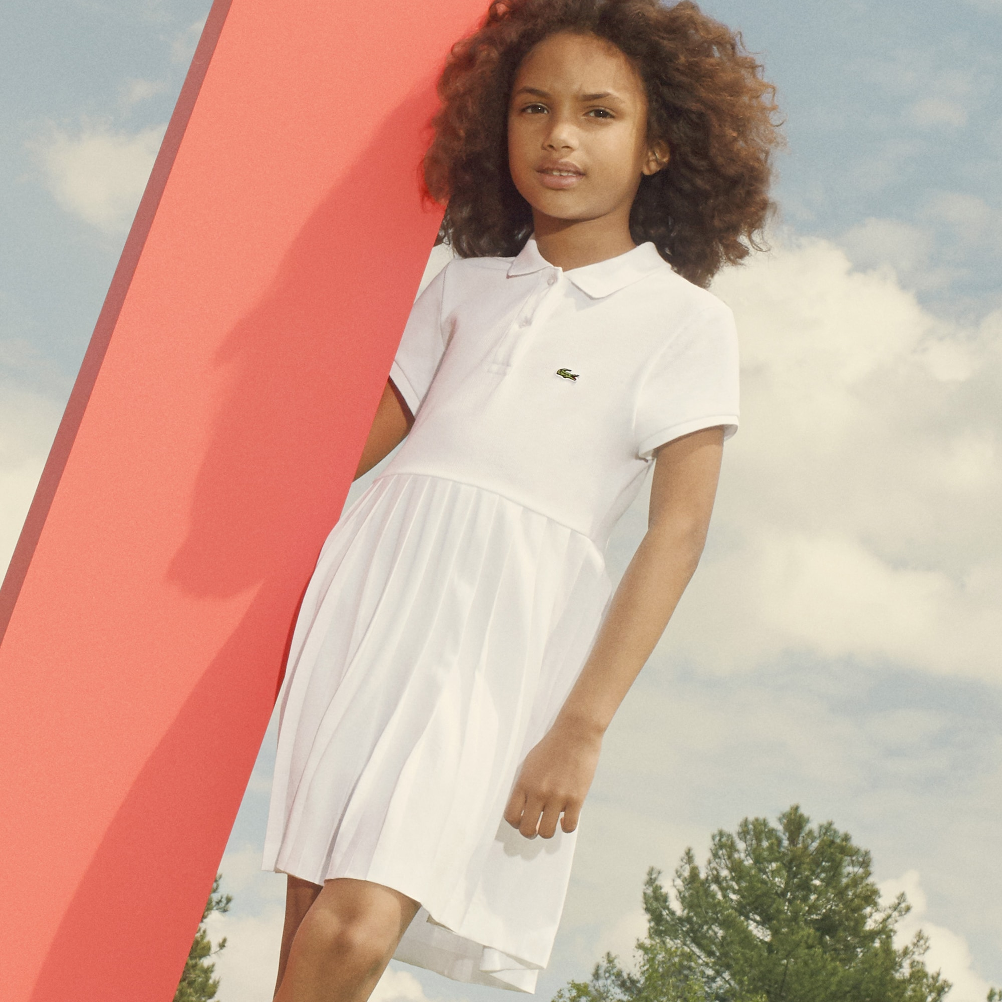 Girls' Pleated Petit Piqué Polo Dress