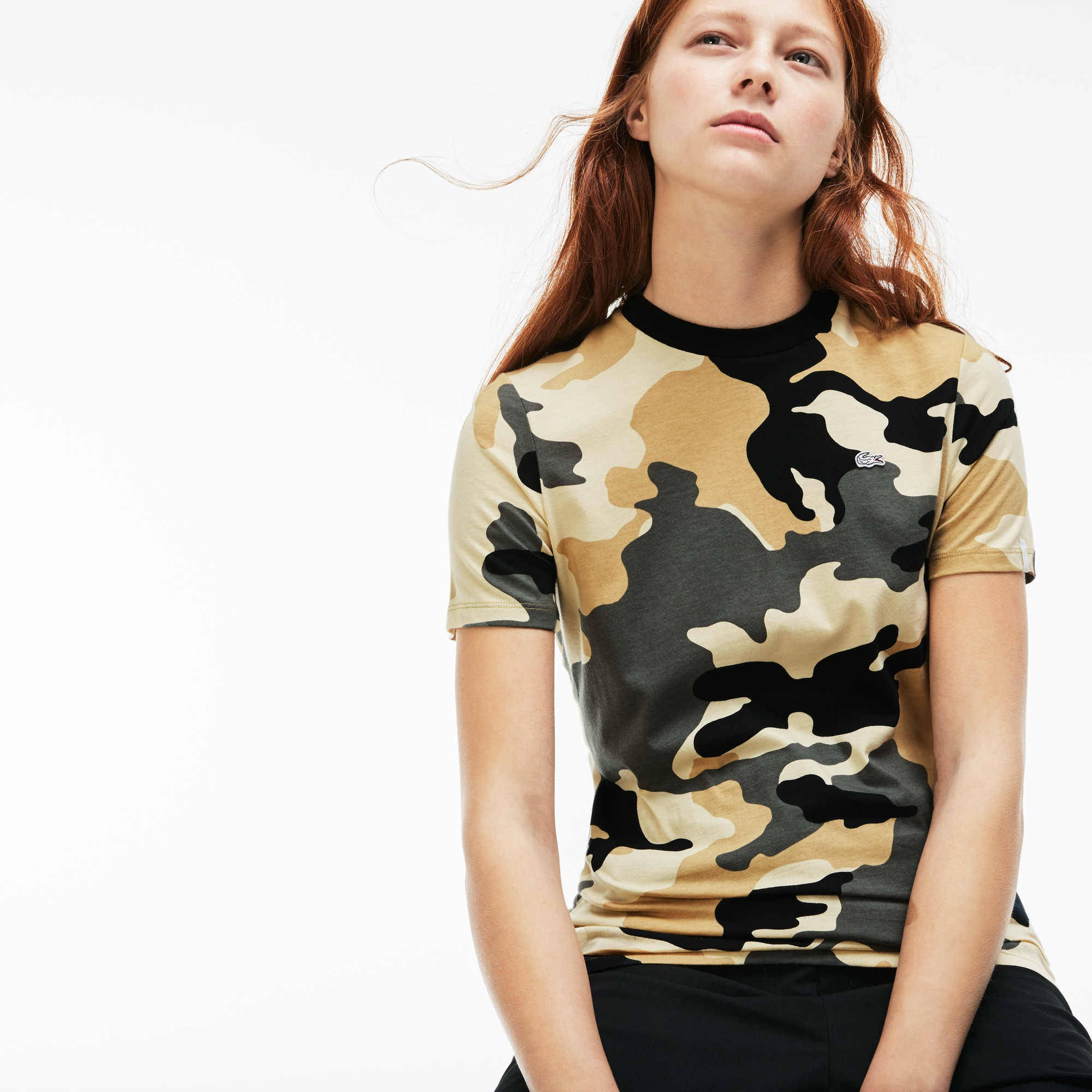 Women's LIVE Crew Neck Camouflage Print Jersey T-shirt