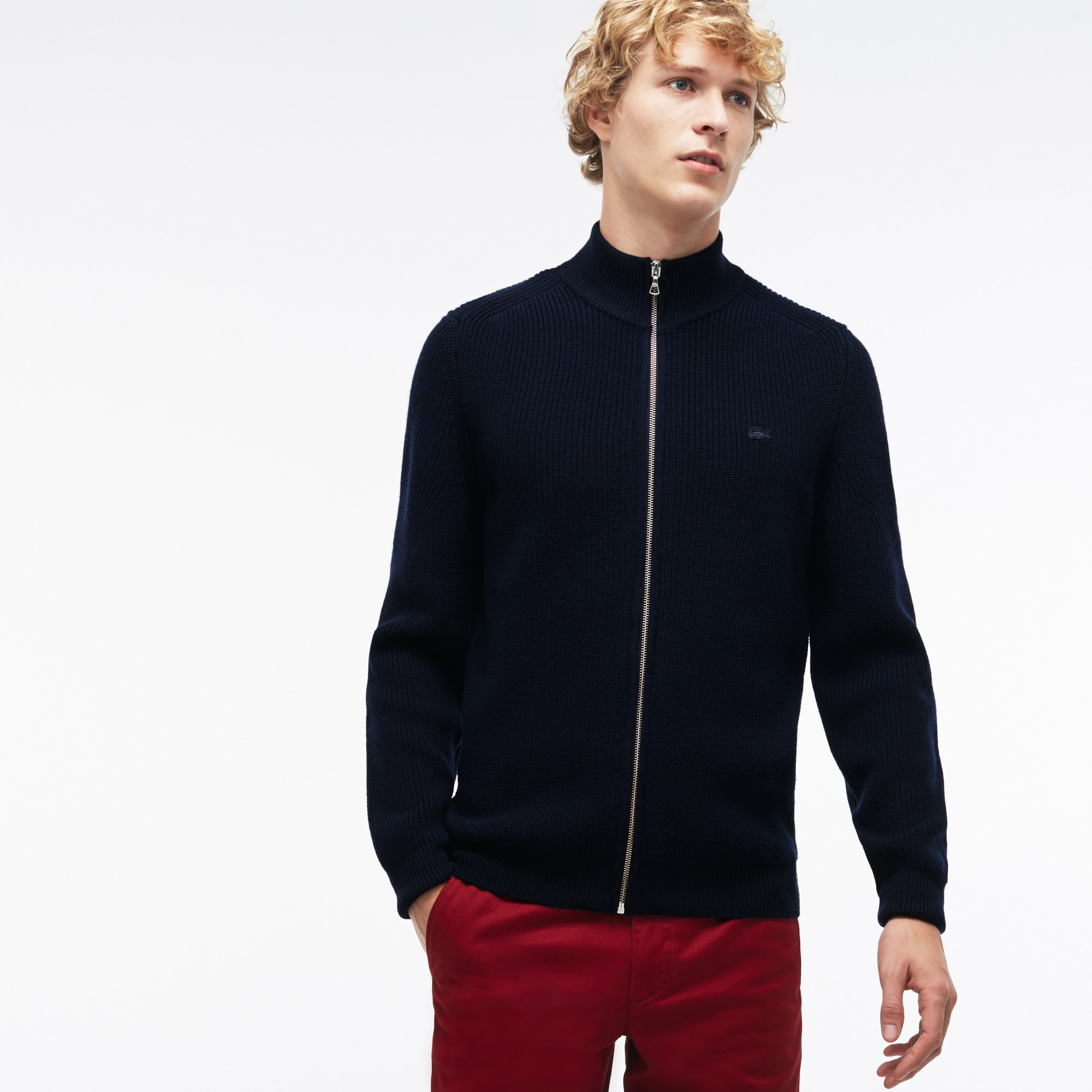 Men's Zippered Stand-Up Collar Ribbed Wool Cardigan