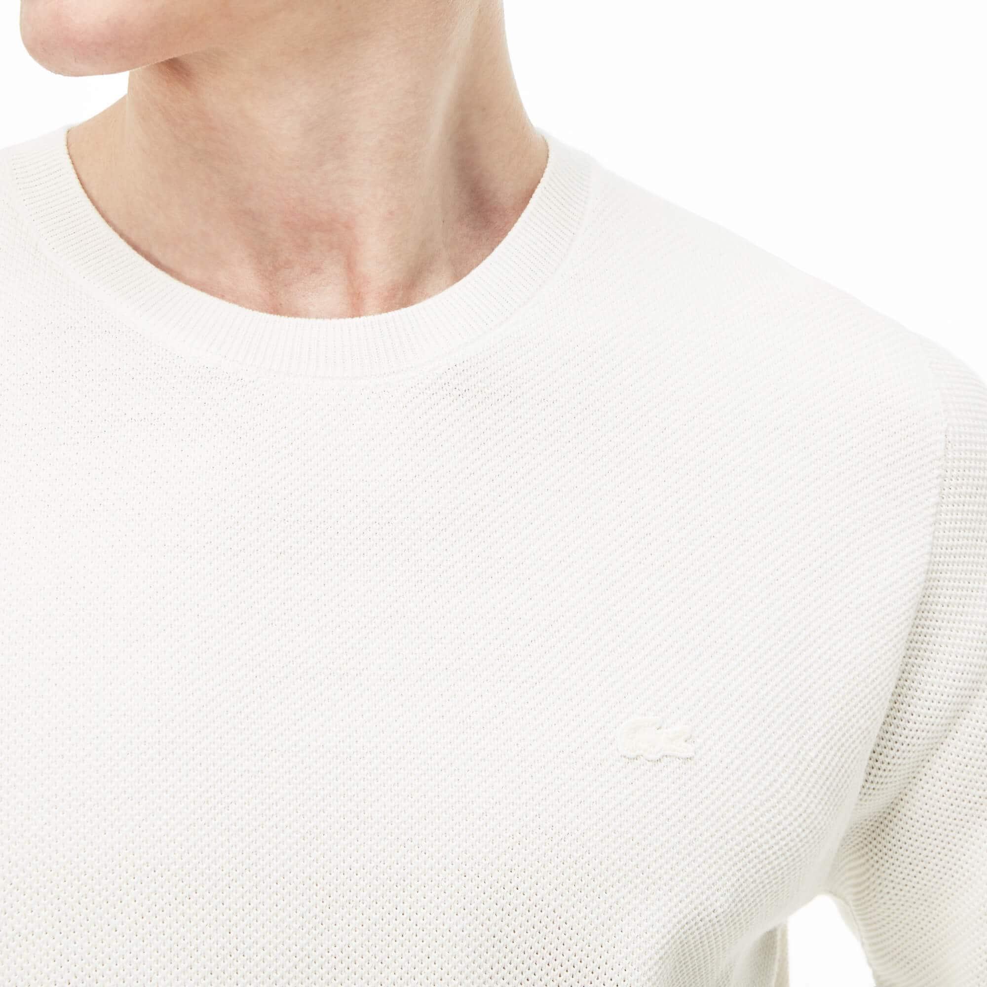 Men's Crew Neck Cotton Piqué Sweater