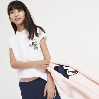 Girls' Lacoste Disney Minnie Embroidery Mini Piqué Polo