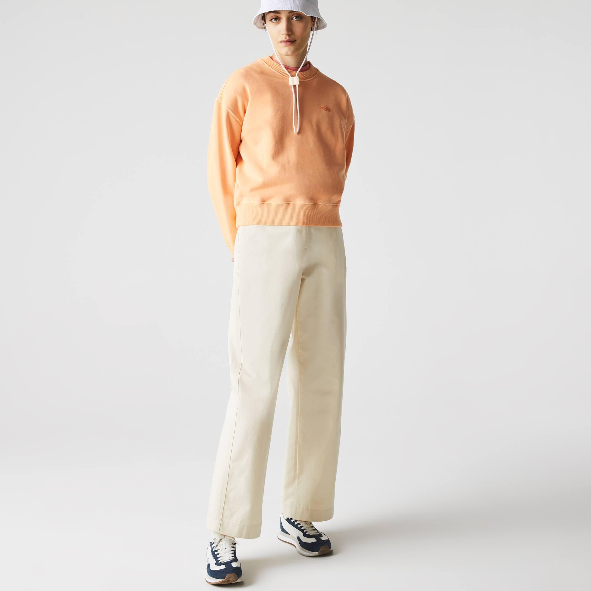 라코스테 라이브 우먼 페이디드 코튼 플리스 맨투맨 - 라이트 오렌지 Lacoste LIVE Crew Neck Faded Cotton Fleece Sweatshirt