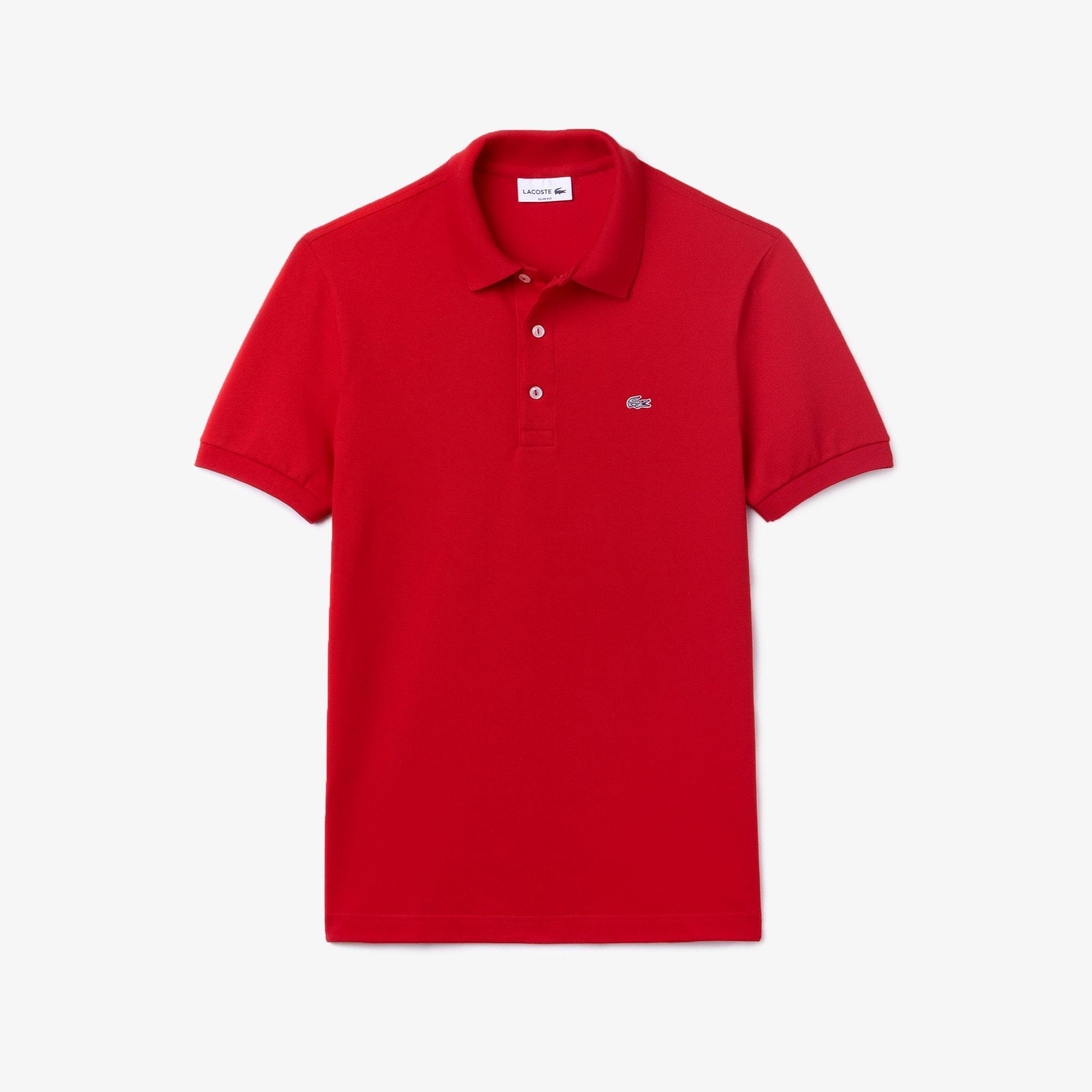 Men's Slim fit  Polo Shirt in stretch petit piqué