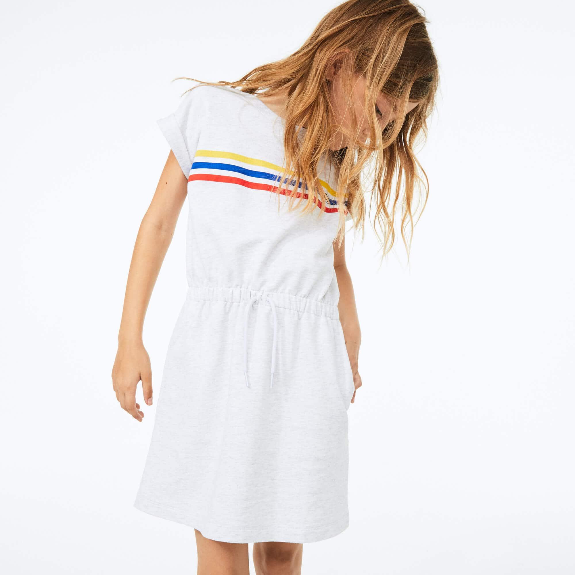 라코스테 Lacoste Girls' Tricolor Stripe Drop Shoulder Dress,Grey Chine • HT1
