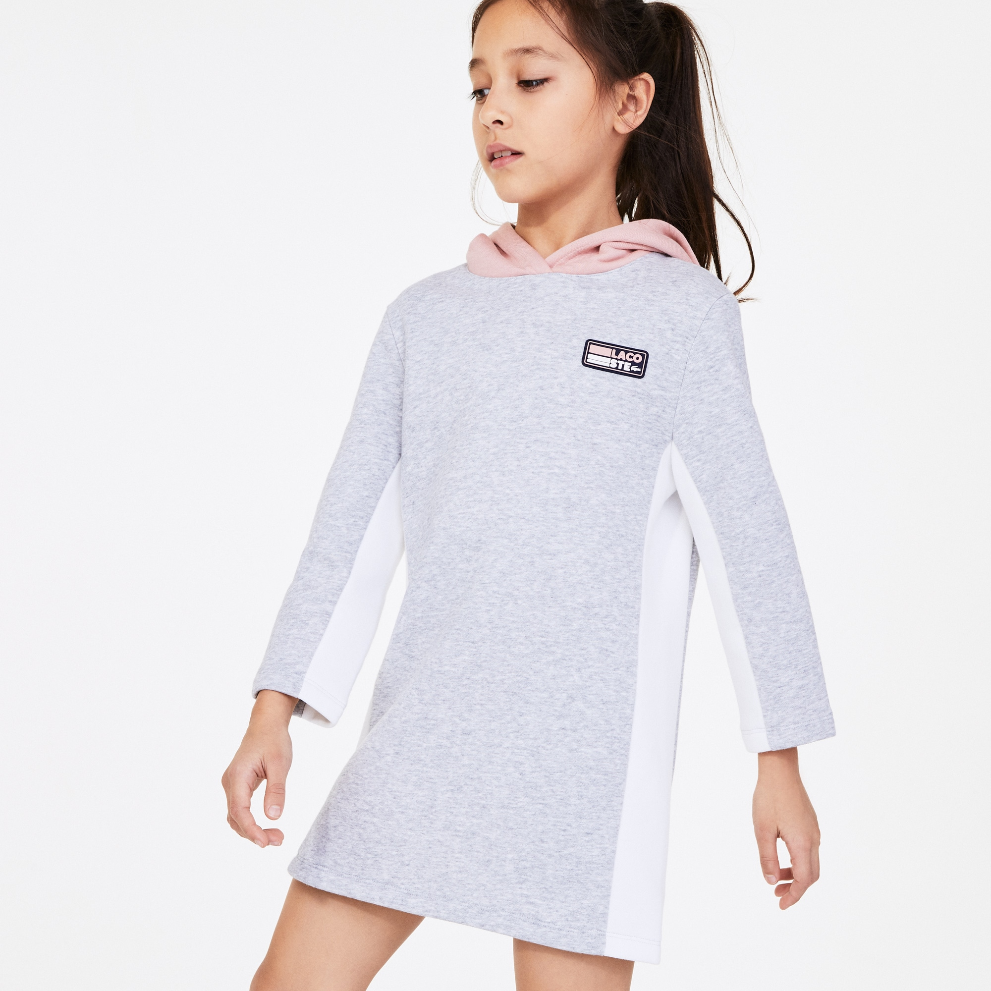 Girls 라코스테 Lacoste SPORT Colourblock Fleece Sweatshirt Dress,Grey Chine / Pink / White • ELC