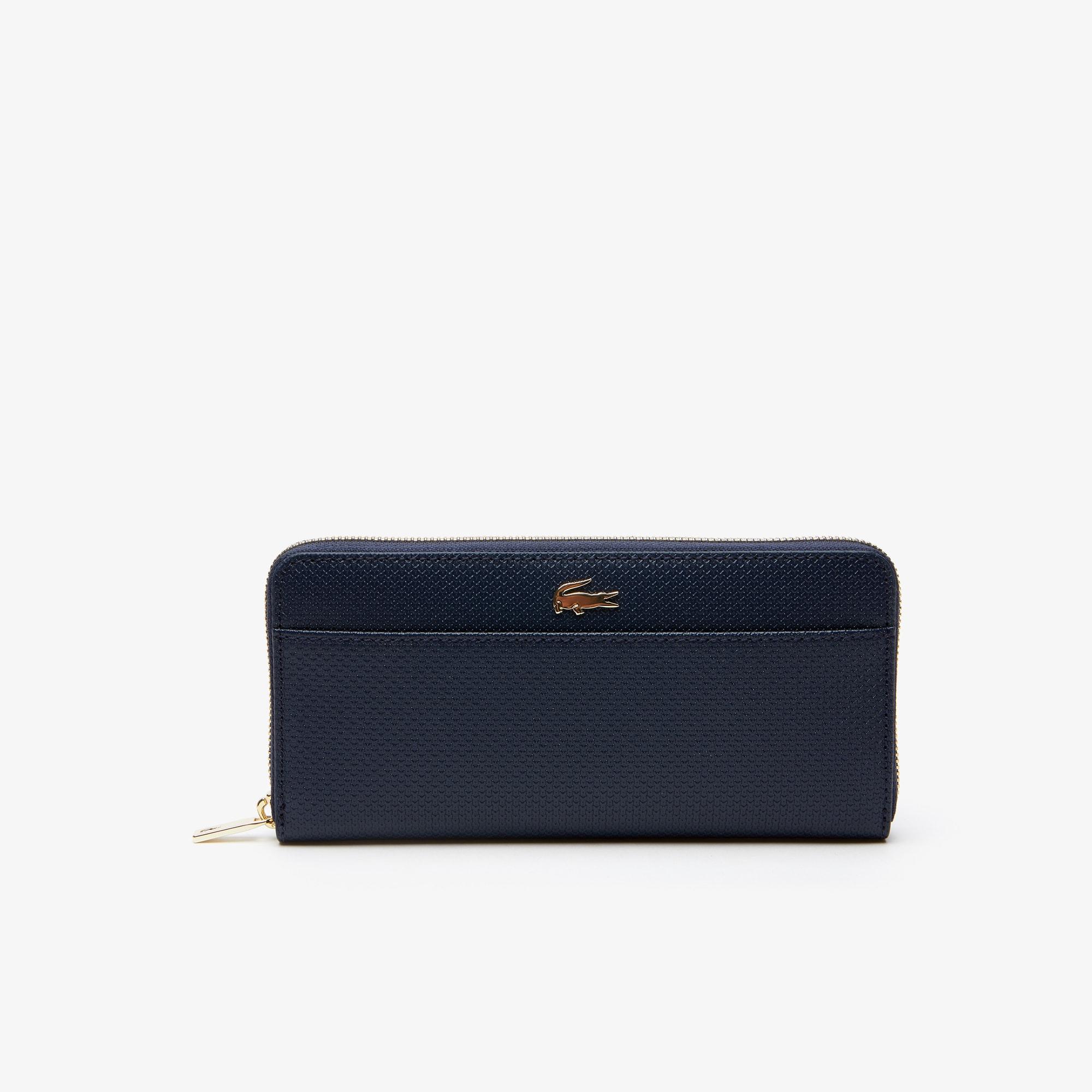 라코스테 Lacoste Womens Chantaco Bicolor Pique Leather 12 Card Zip Wallet,peacoat
