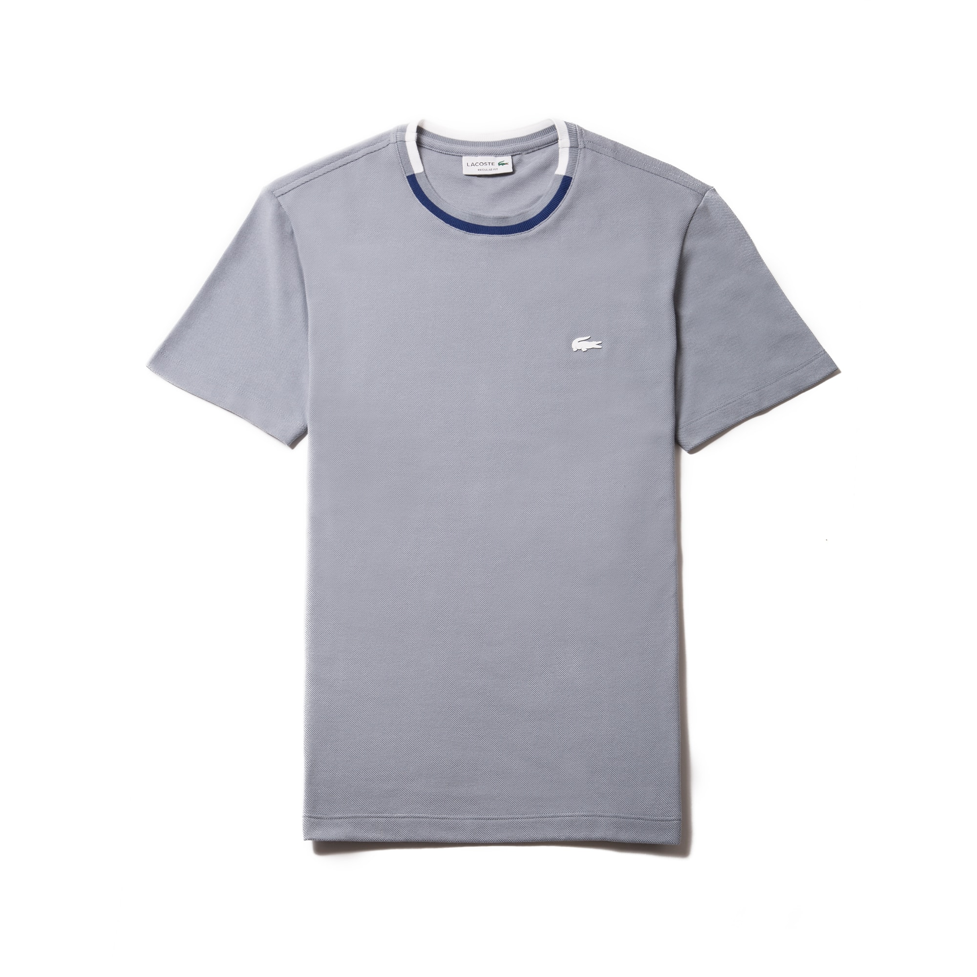 Men's Striped Contrasted Crew Neck Petit Piqué T-shirt
