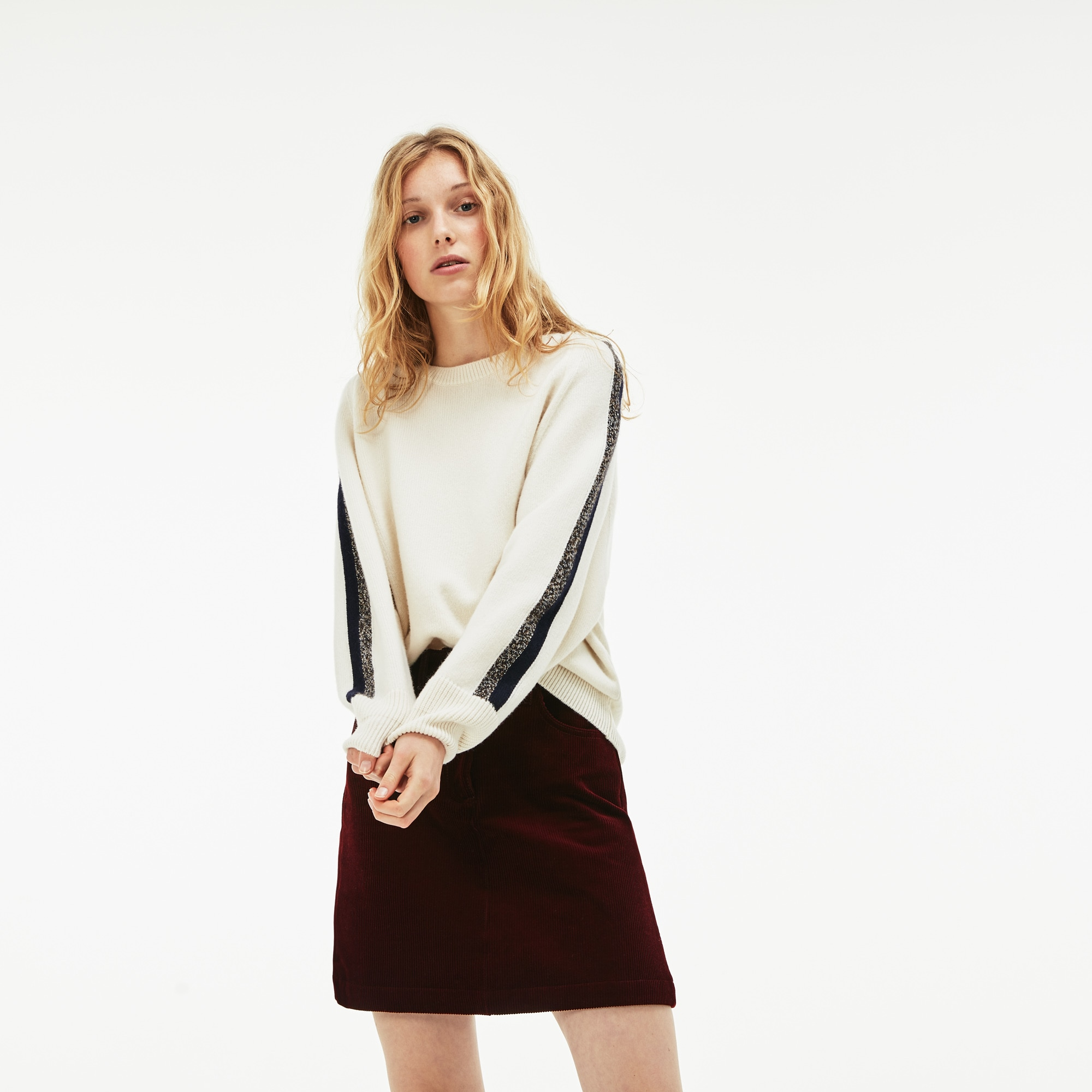 Women's Ribbed Stretch Velour A-Line Skirt