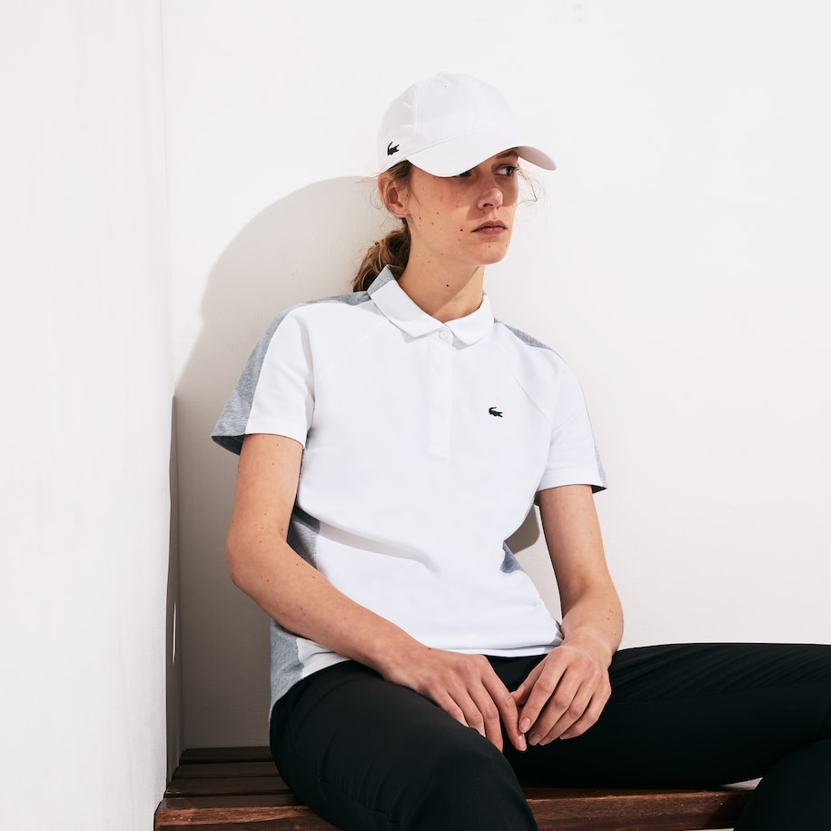 Women's SPORT Two-Tone Stretch Cotton Piqué Golf Polo Shirt