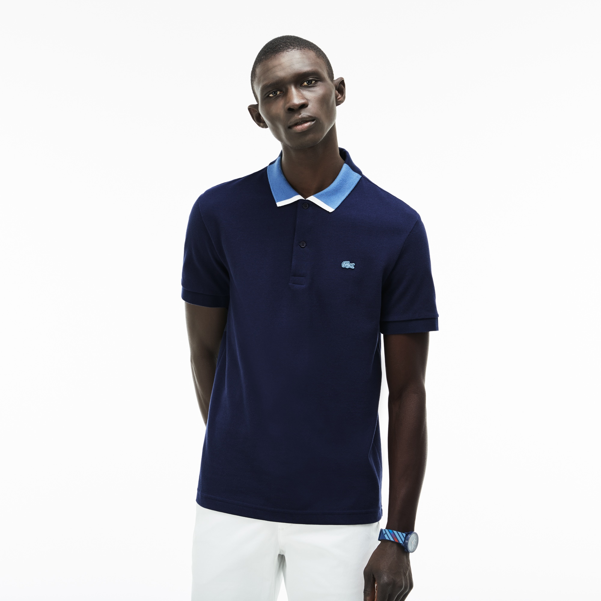 Men's Regular Fit Contrast Collar Petit Piqué Polo