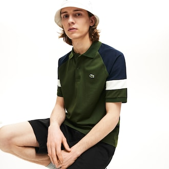 라코스테 Lacoste Mens L.12.12 Raglan Sleeved Pique Polo,Khaki Green / Navy Blue / White - 7DH (Selected co