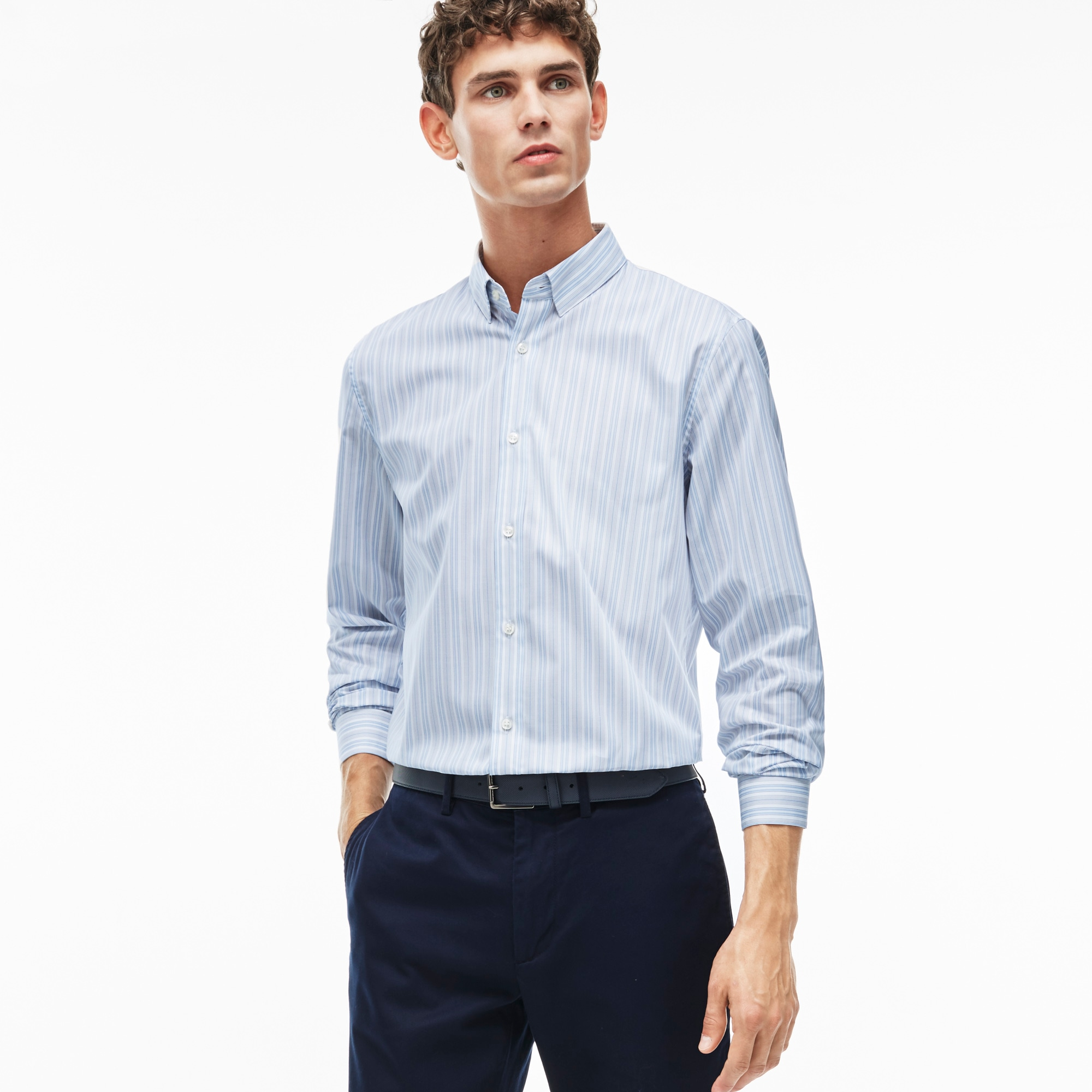 Men's Slim Fit Bicolor Striped Poplin Shirt