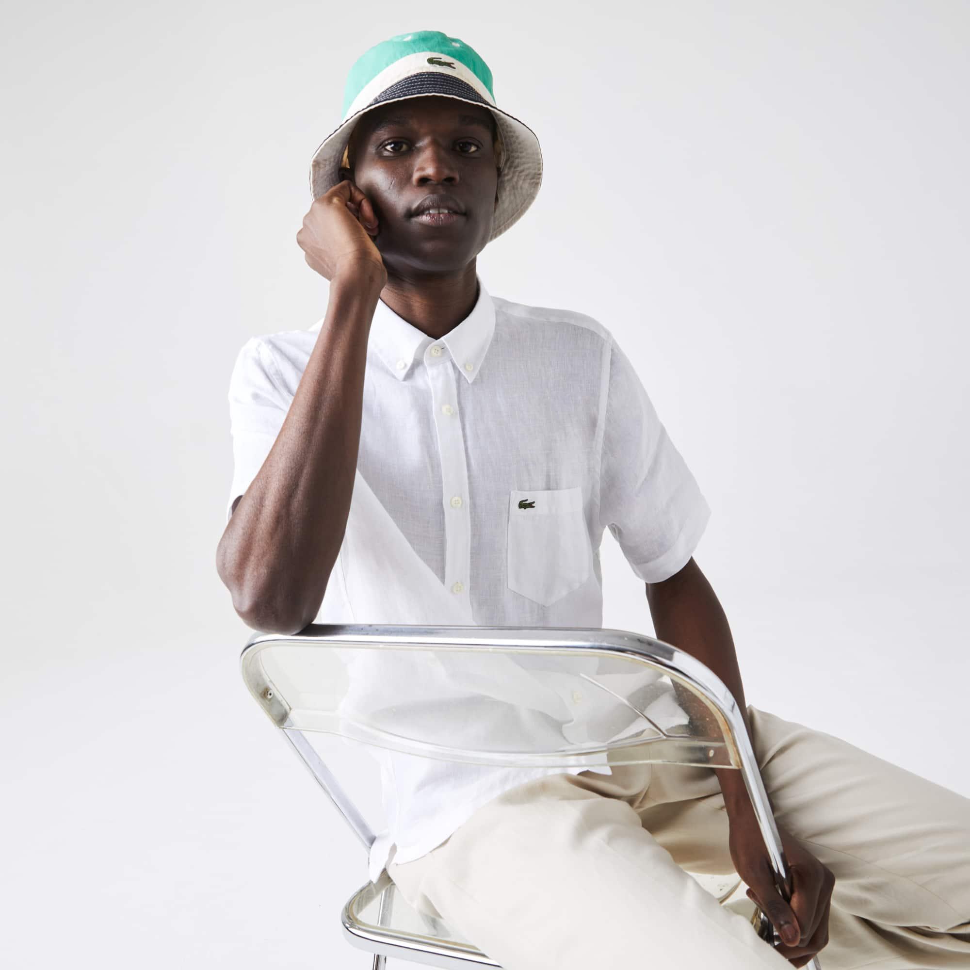 라코스테 Lacoste Mens Regular Fit Linen Shirt
