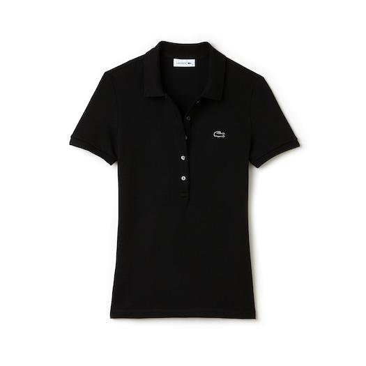 라코스테 우먼 스트레치 미니 코튼 피케 폴로 셔츠 - 블랙 (슬림핏) Lacoste Womens Slim Fit Stretch Mini Cotton Pique Polo Shirt