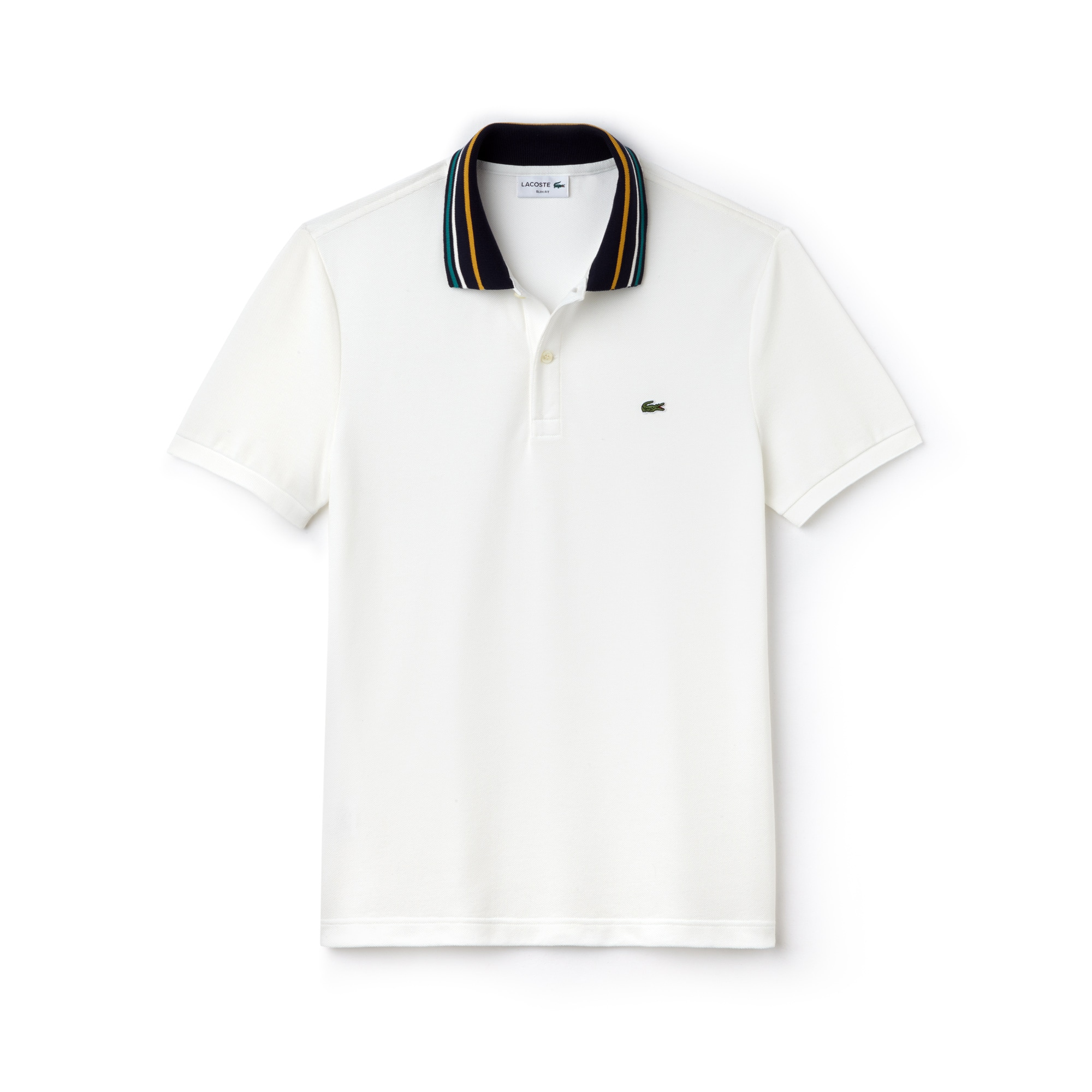 Men's Slim Fit Striped Contrast Collar Petit Piqué Polo