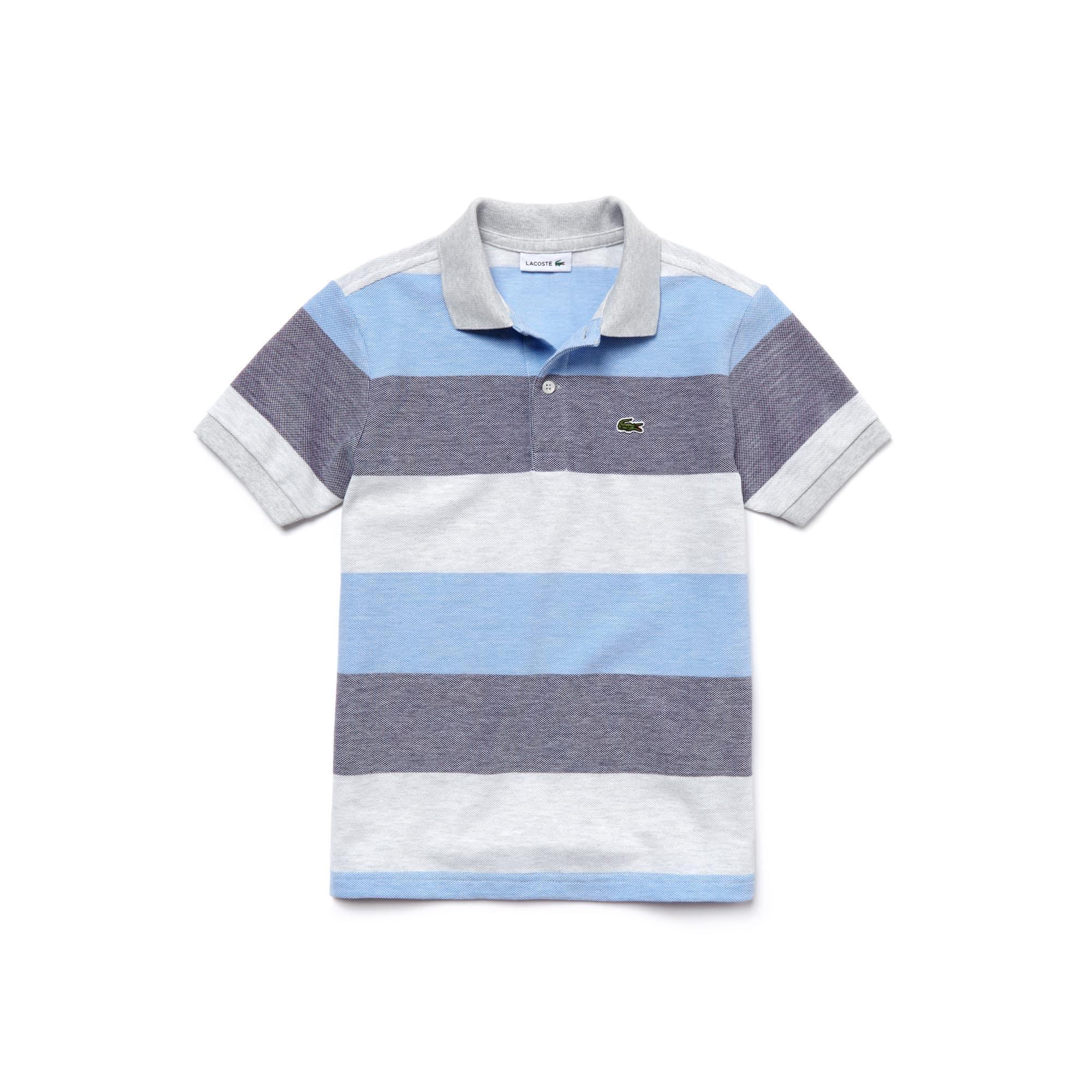 Boy's Classic Fit Striped Petit Piqué Polo Shirt