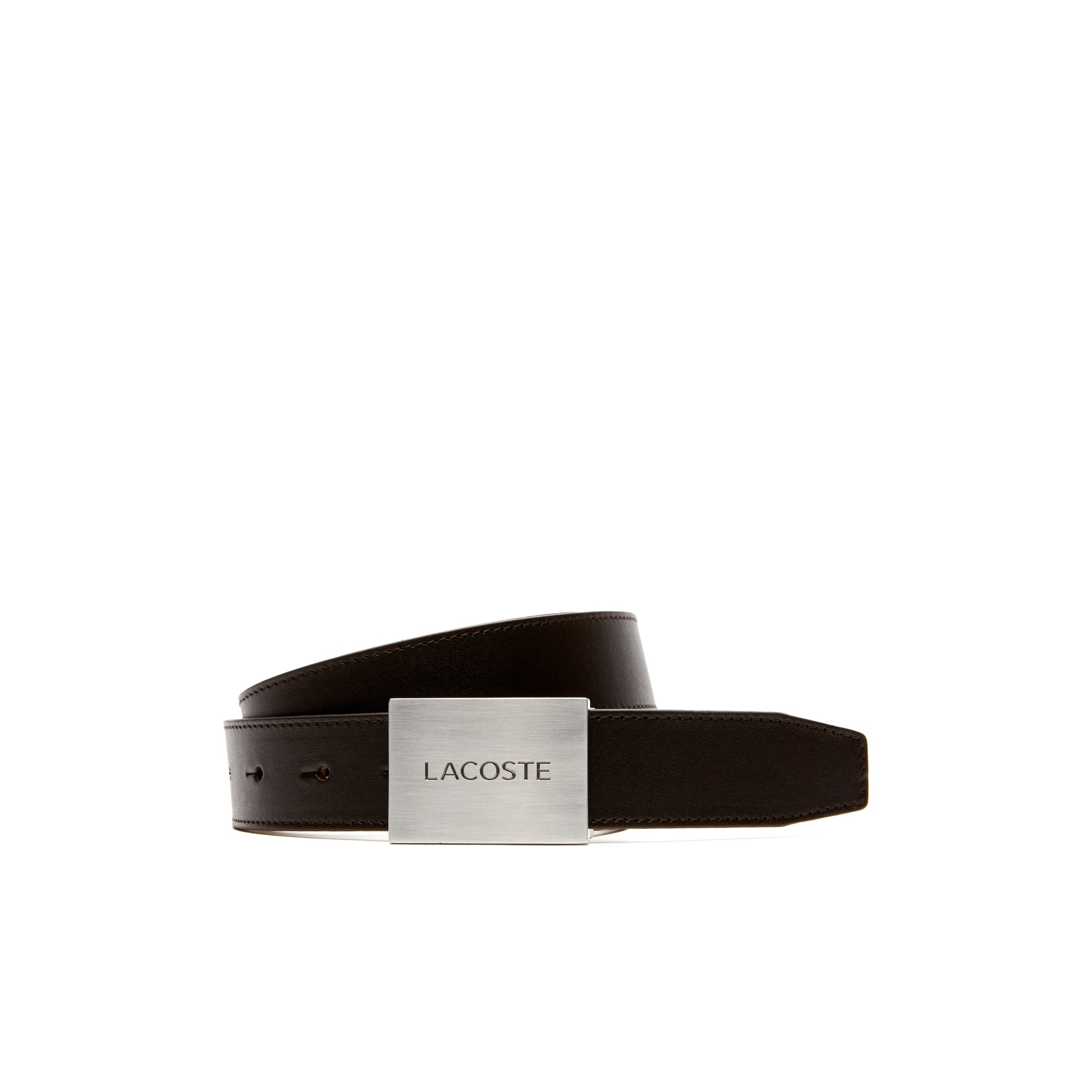 Men's Smooth Leather Belt With Lacoste Engraved Plate Buckle