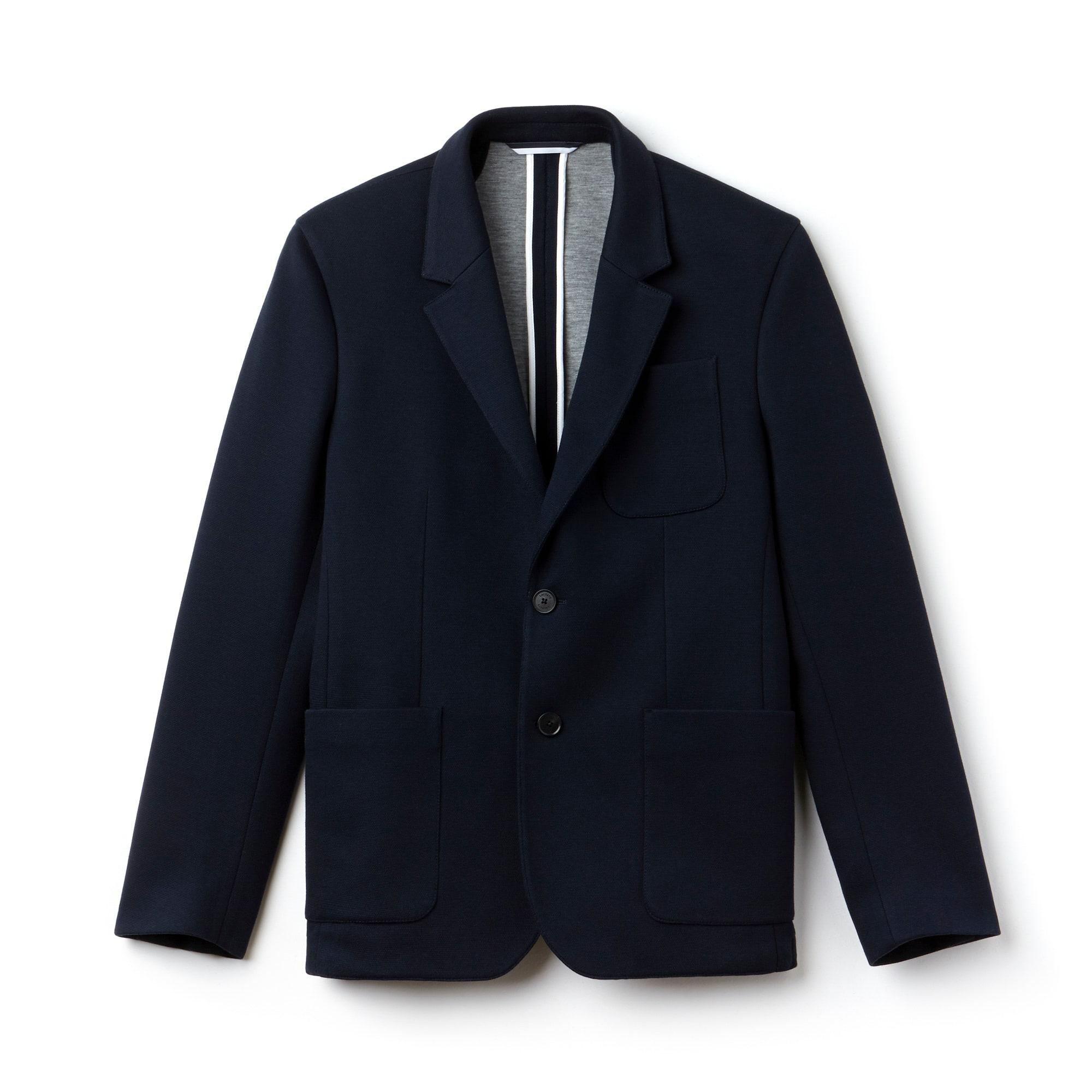 라코스테 Lacoste Mens Regular Fit Cotton Pique Jacket,Navy Blue