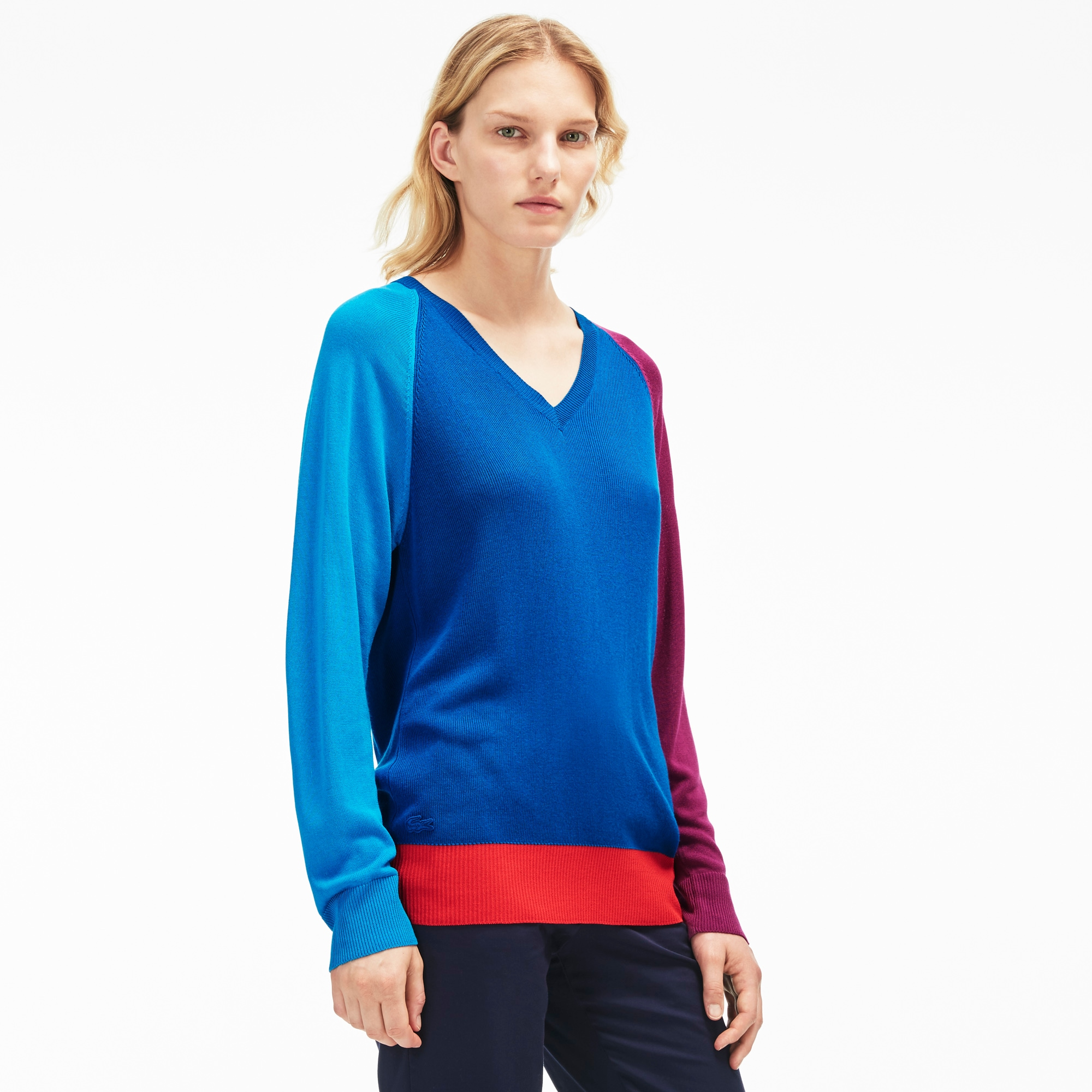 Women's Colorblock Flowing V-Neck Sweater