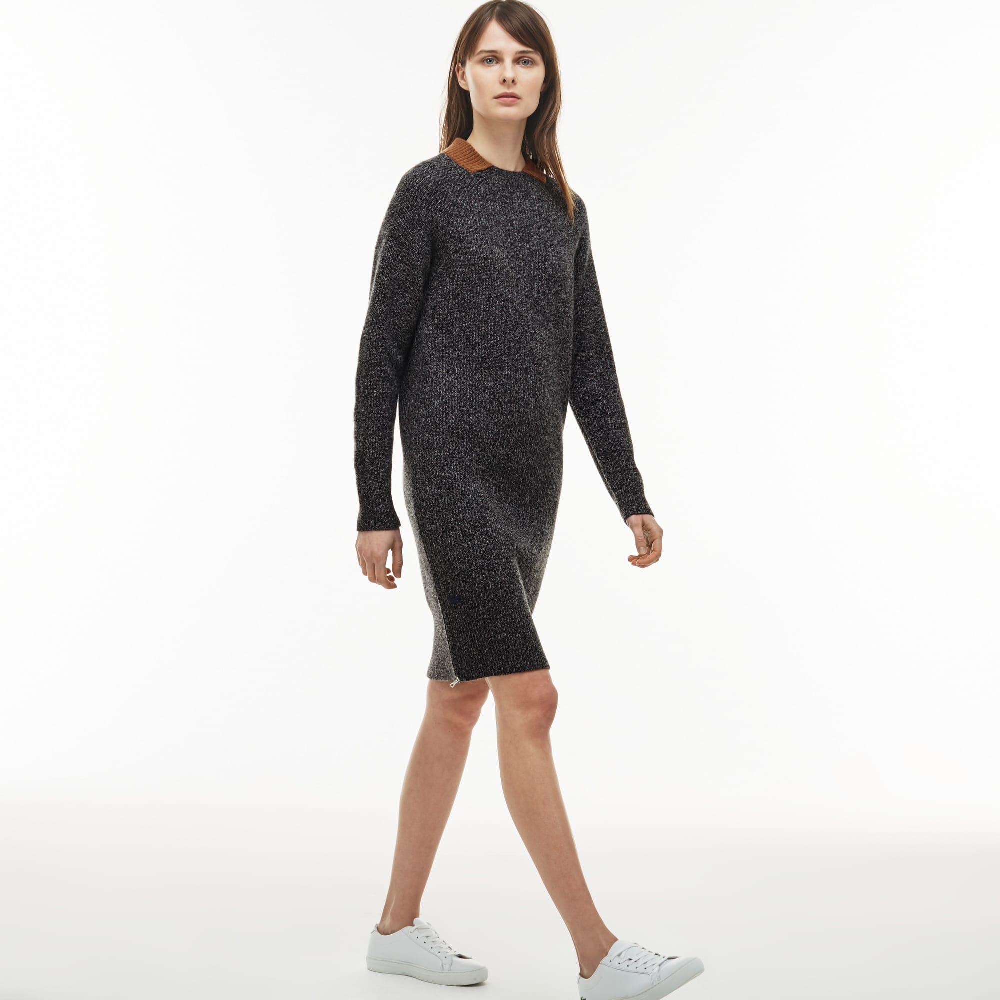 Women's Ribbed Wool Zippered Sweatshirt Dress