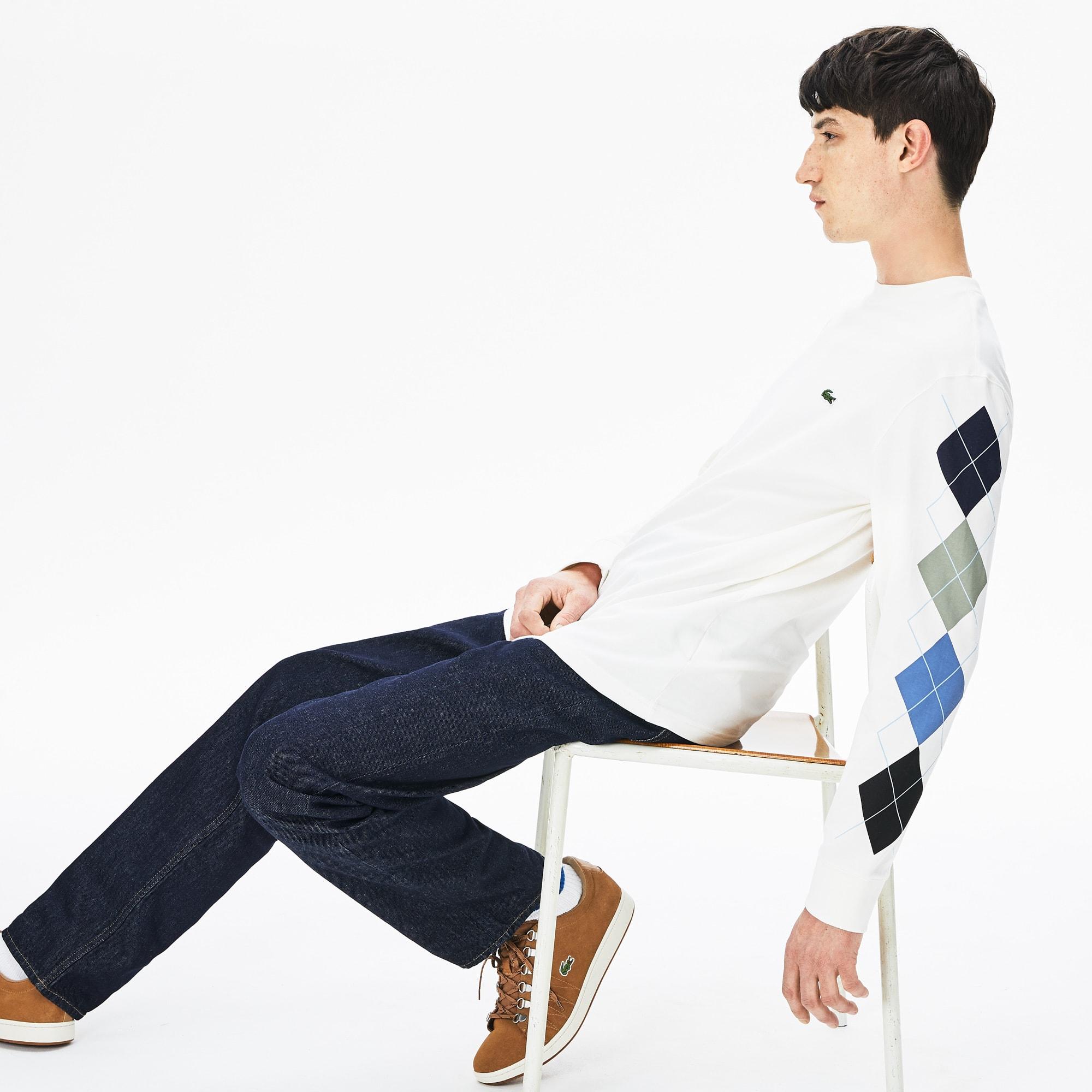 Lacoste Tops Men's Jacquard-Sleeve Cotton T-Shirt