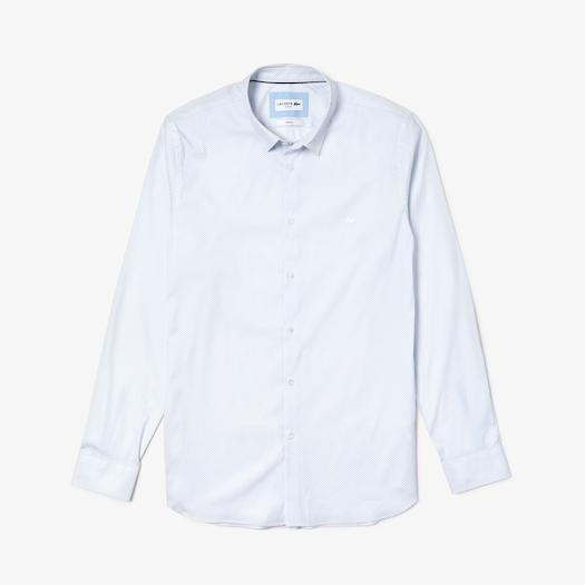 라코스테 Lacoste Mens Slim Fit Mini Patterned Stretch Poplin Shirt,White / Light Blue - 9AE