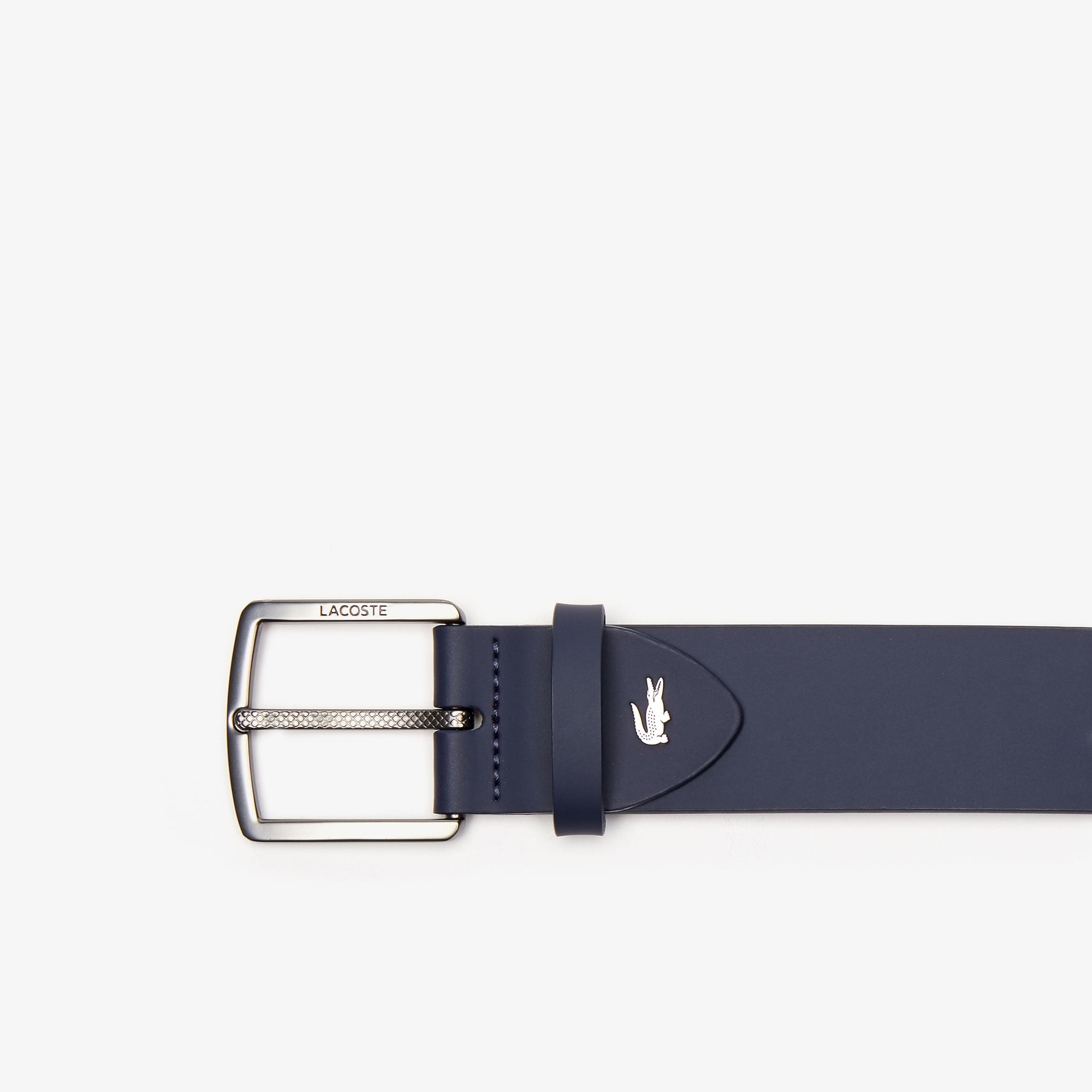 Men's Engraved-Buckle Smooth Leather Belt