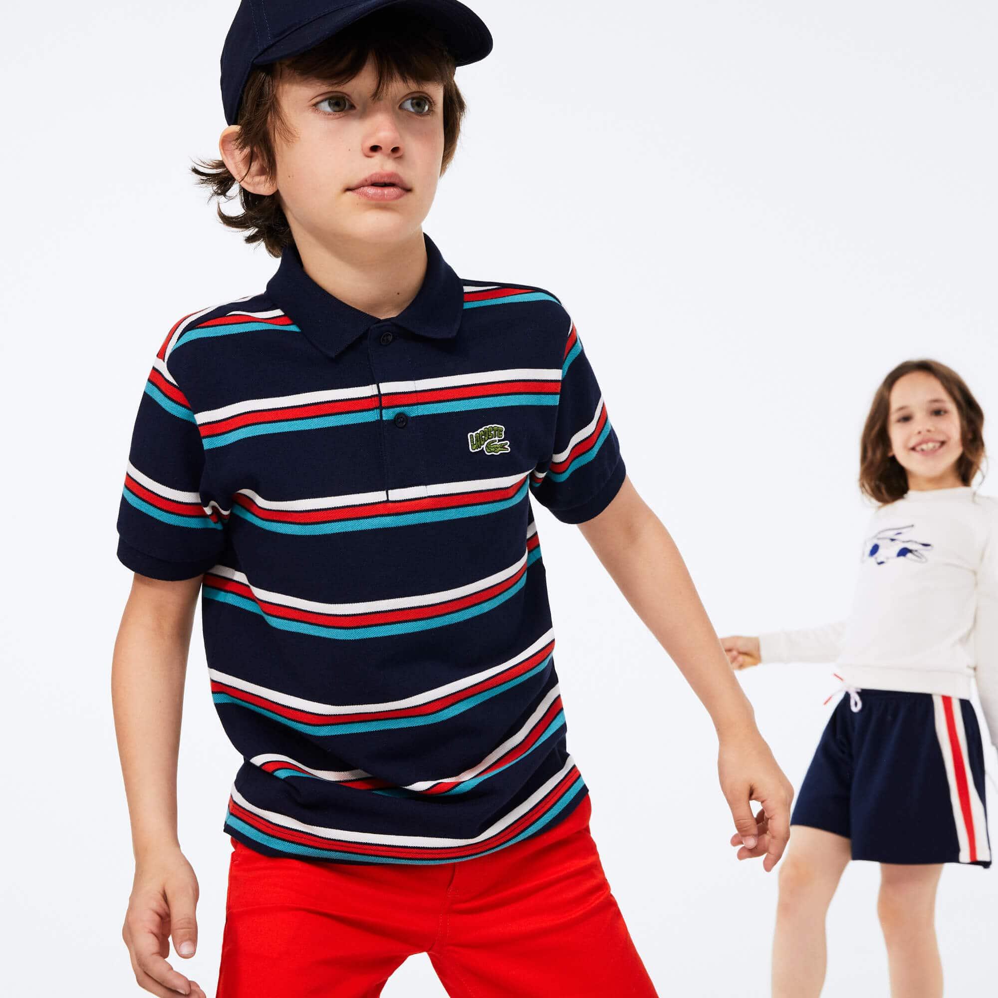 라코스테 보이즈 로고 스트라이프 폴로 Lacoste Boys' Embroidered Logo Striped Polo