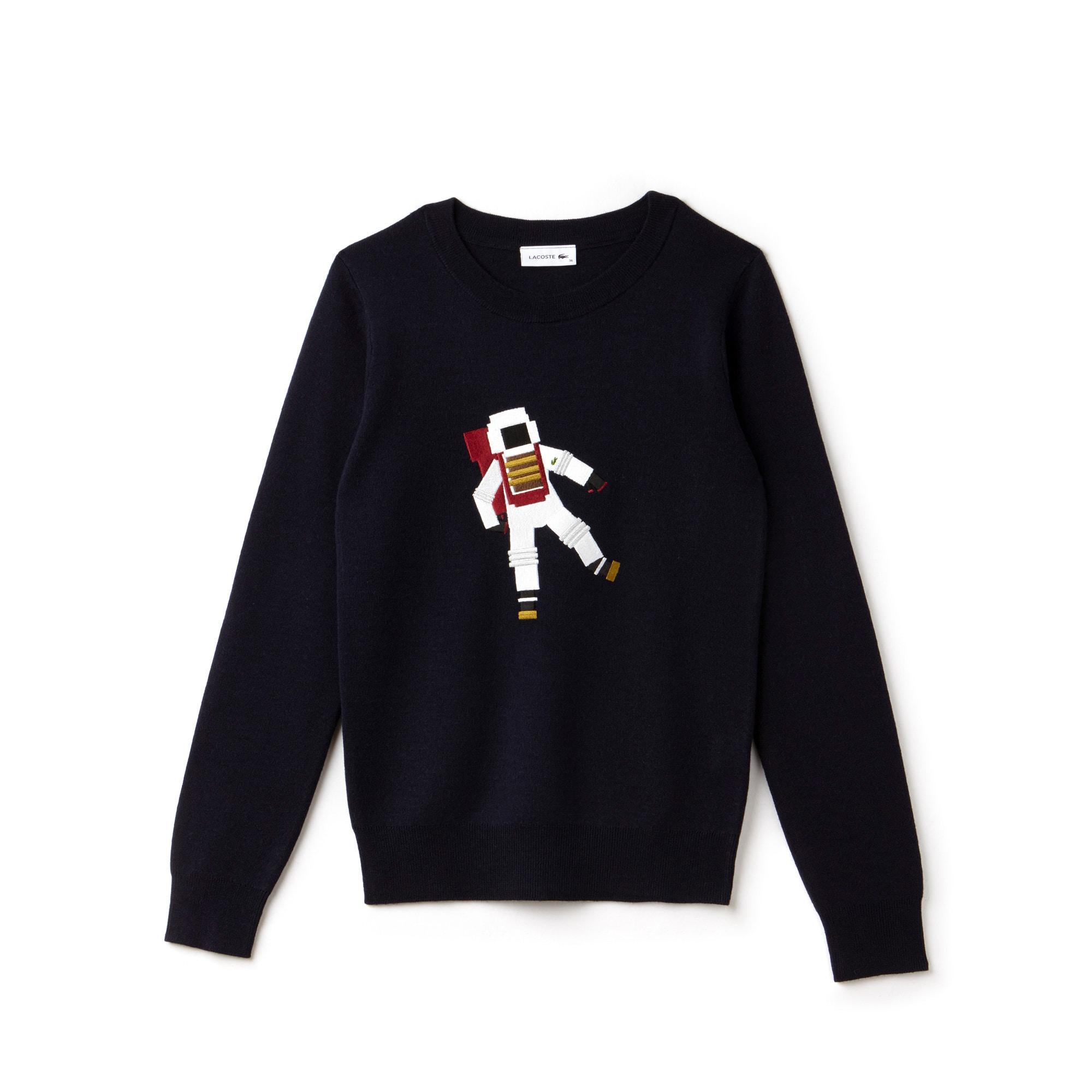 Women's Crew Neck Astronaut Embroidery Wool Interlock Sweater