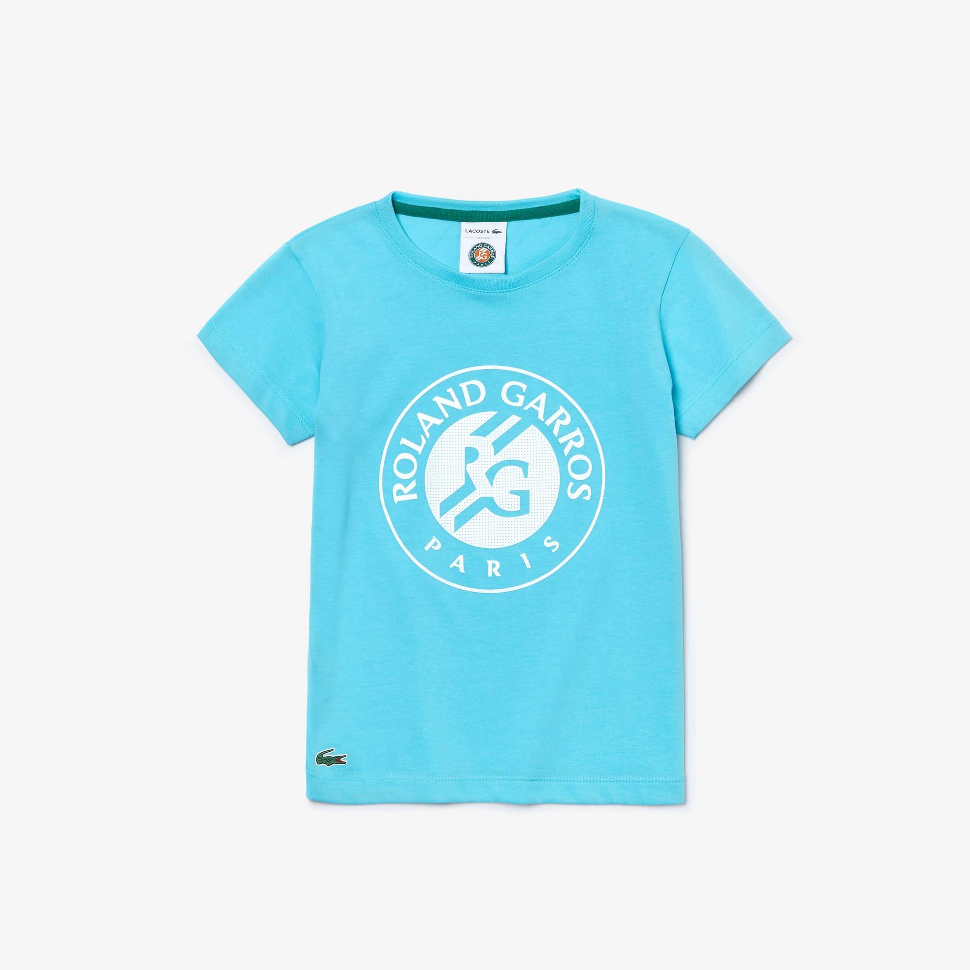 라코스테 Lacoste Girls SPORT Roland Garros Logo T-Shirt,Turquoise / White / Green • YP2