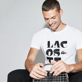 라코스테 스포츠 반팔 티셔츠 Lacoste Mens SPORT Crew Neck Lettering Jersey Tennis T-shirt,White / Black / Grey Chine