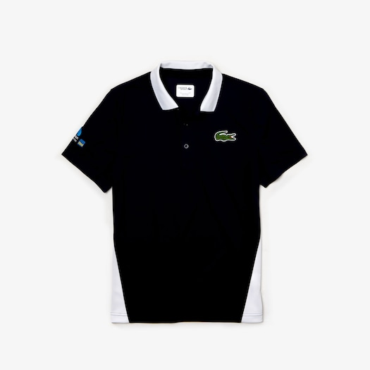 라코스테 Lacoste Mens SPORT Miami Open Edition Pique Polo,Navy Blue / White - 525 (Selected colour)