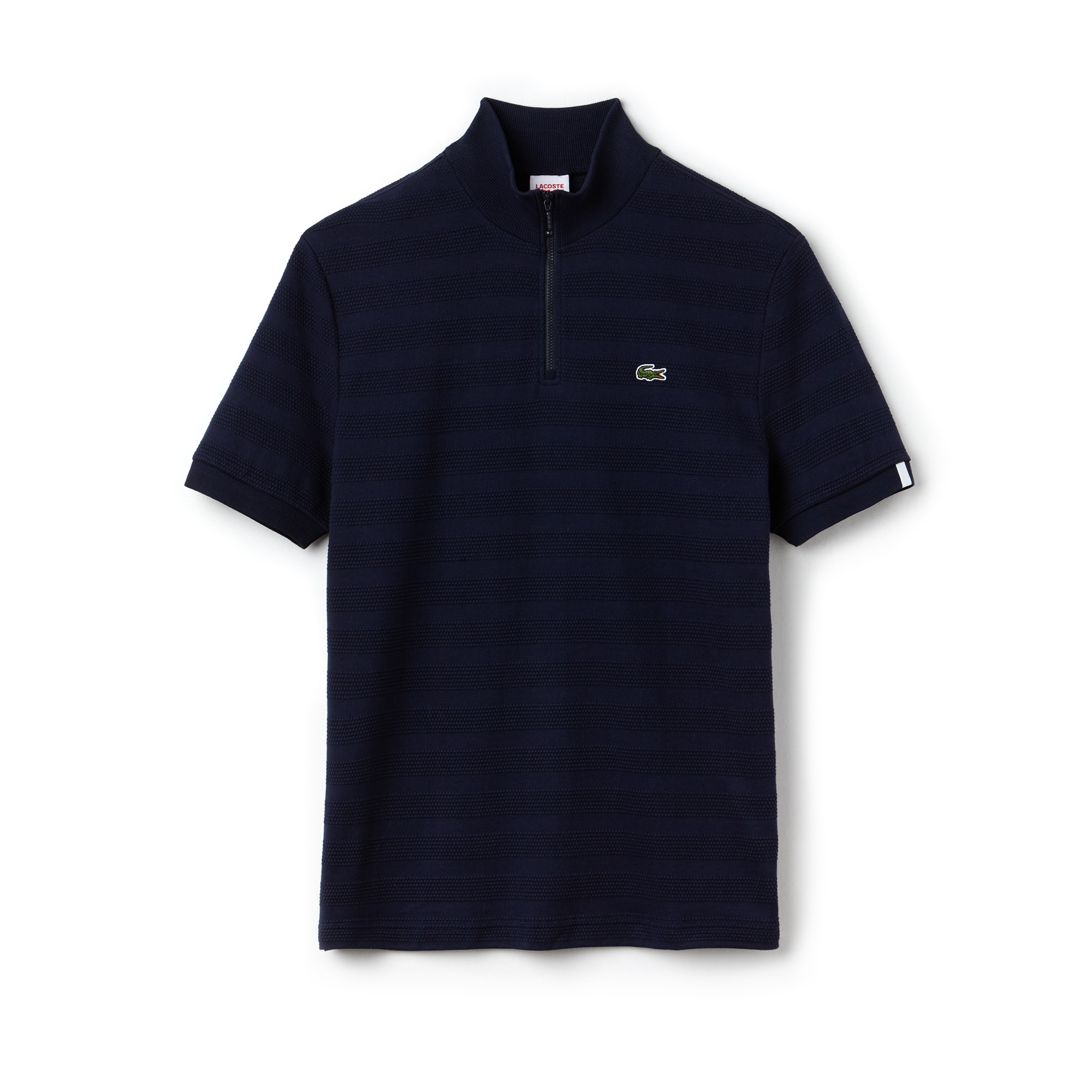 Men's Lacoste LIVE Slim Fit Zip Striped Honeycomb Jersey Polo