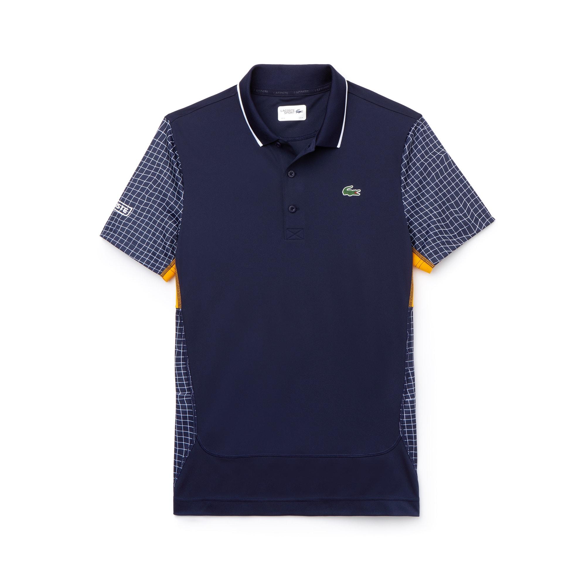 라코스테 Lacoste Mens SPORT Net Print Pique Tennis Polo,navy blue / white / orange / navy blue / white