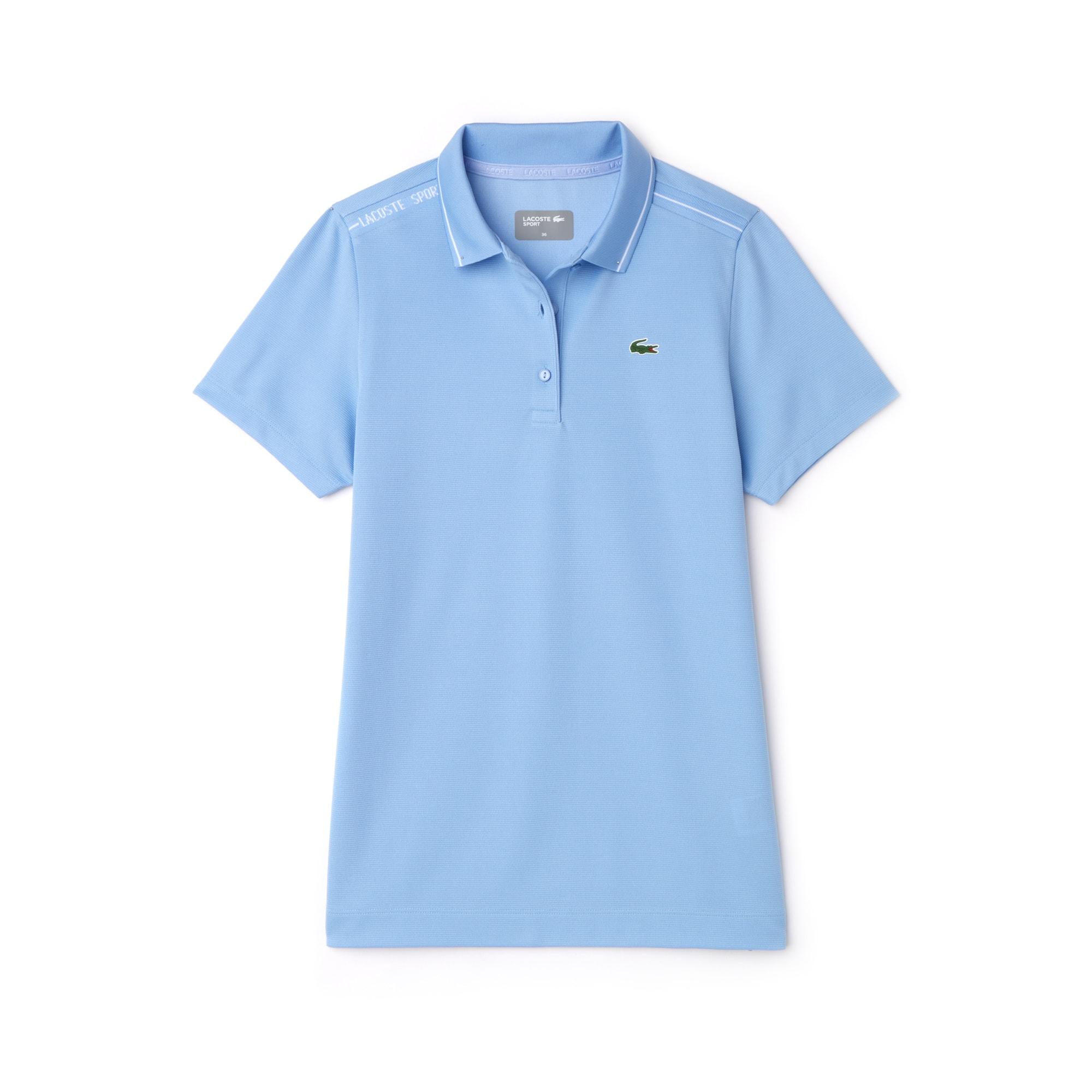 라코스테 Lacoste Womens SPORT Contrast Accents Square Knit Golf Polo,blue / white