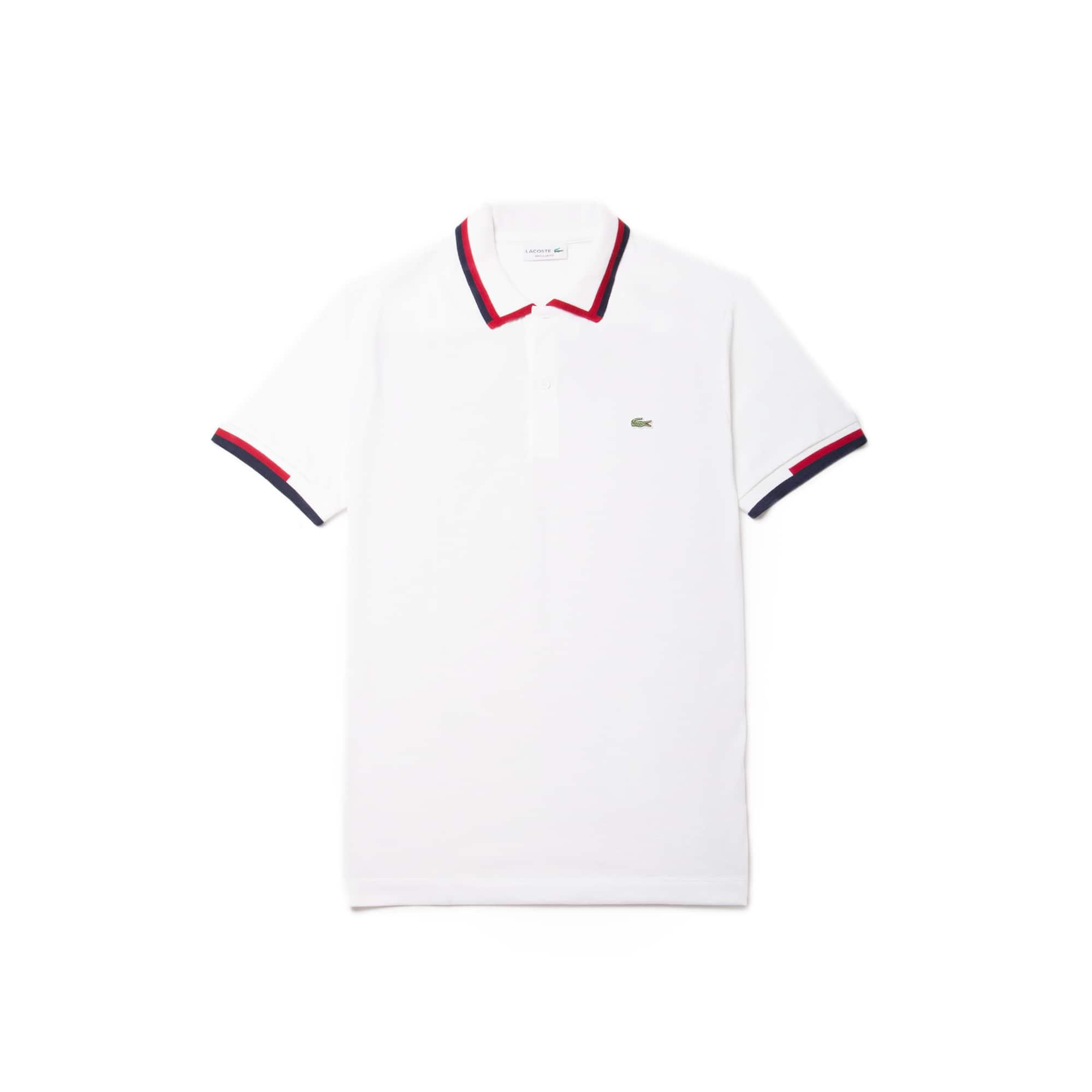 Men's  Regular Fit Tricolor Neck Jersey Polo