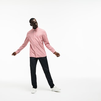 라코스테 Lacoste Mens Regular Fit Check Cotton Twill Shirt