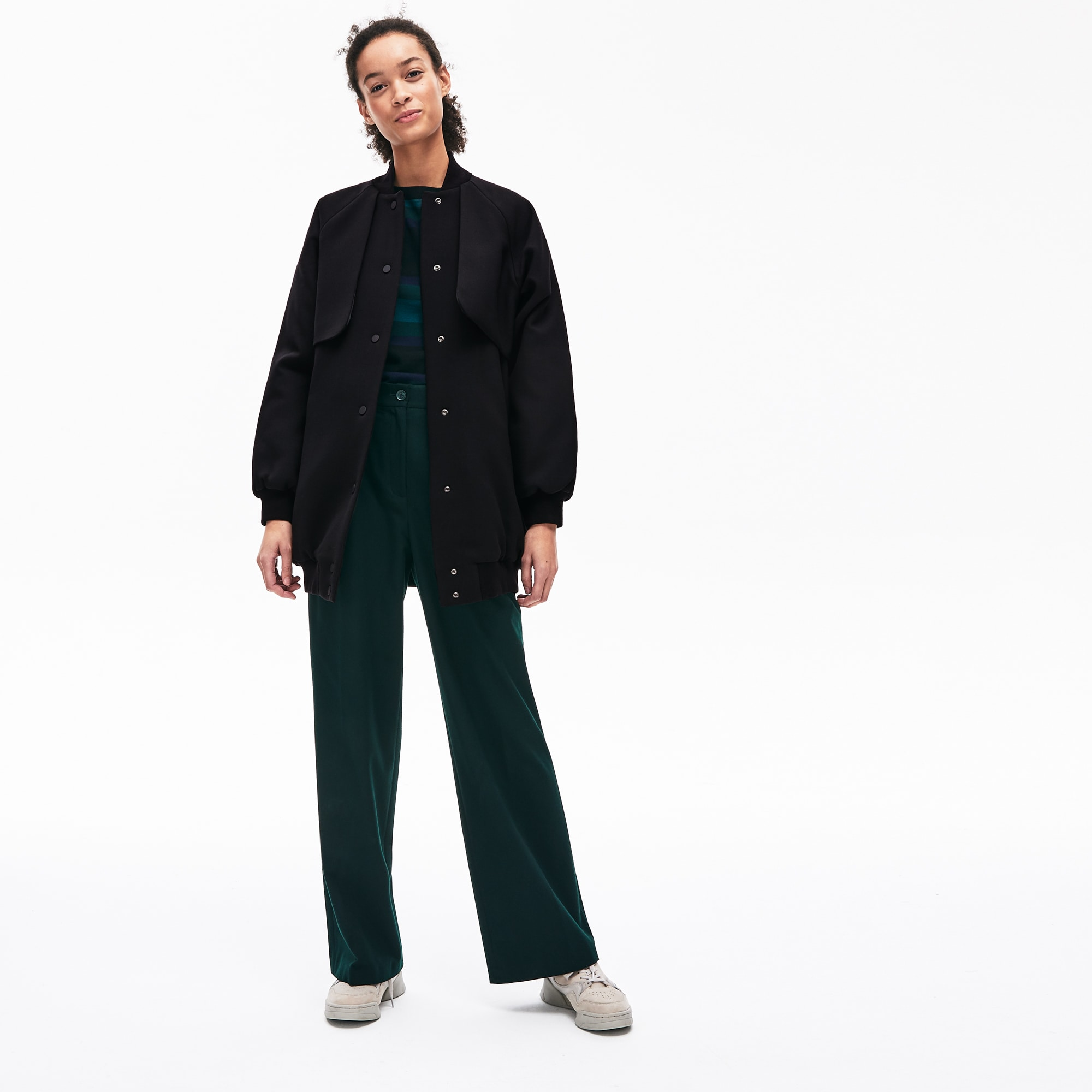 라코스테 Lacoste Womens Quilted Lining Long Wool Crepe Bomber Jacket