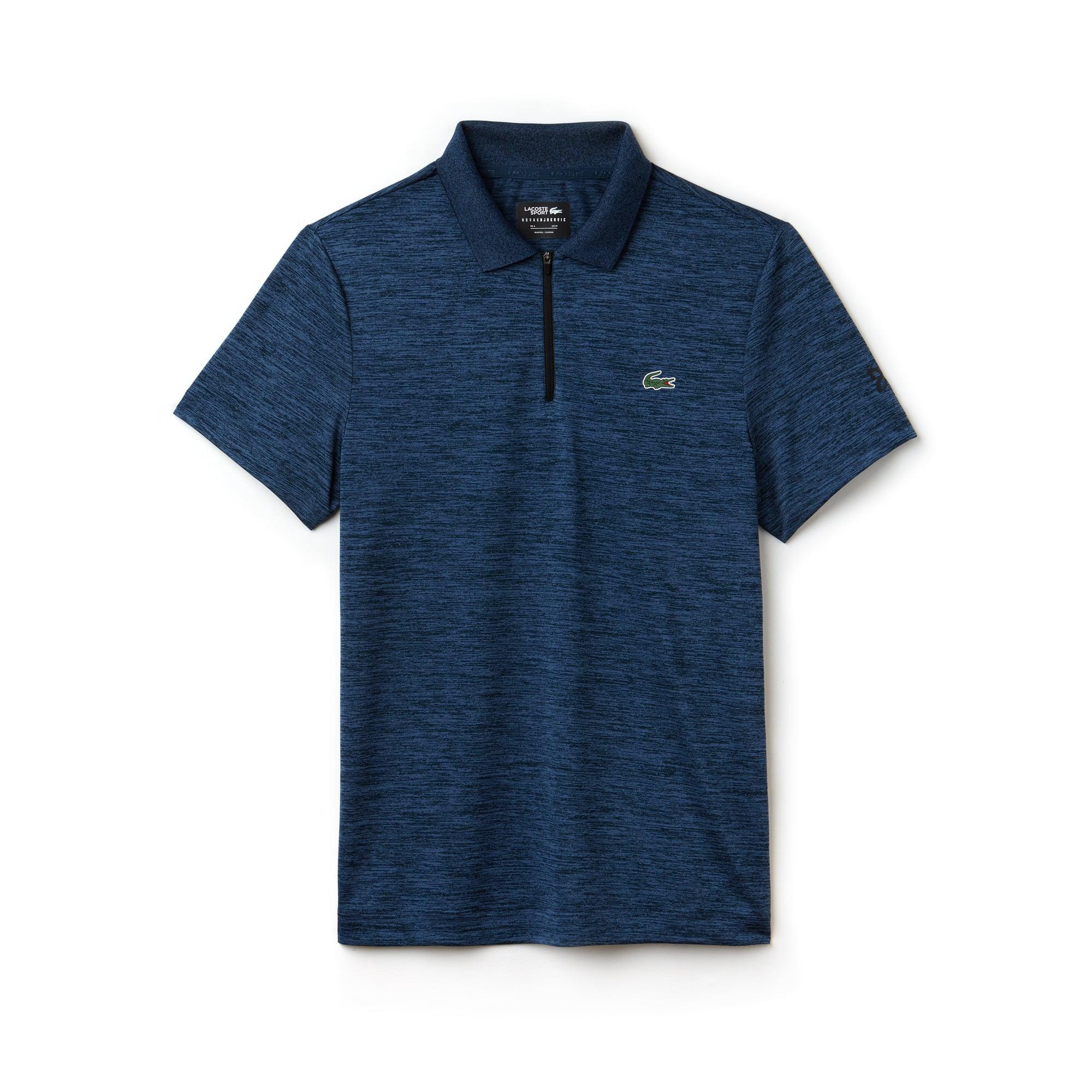 라코스테 Lacoste Mens SPORT Flecked Technical Jersey Polo - x Novak Djokovic Off Court Premium Edition,azurite/black